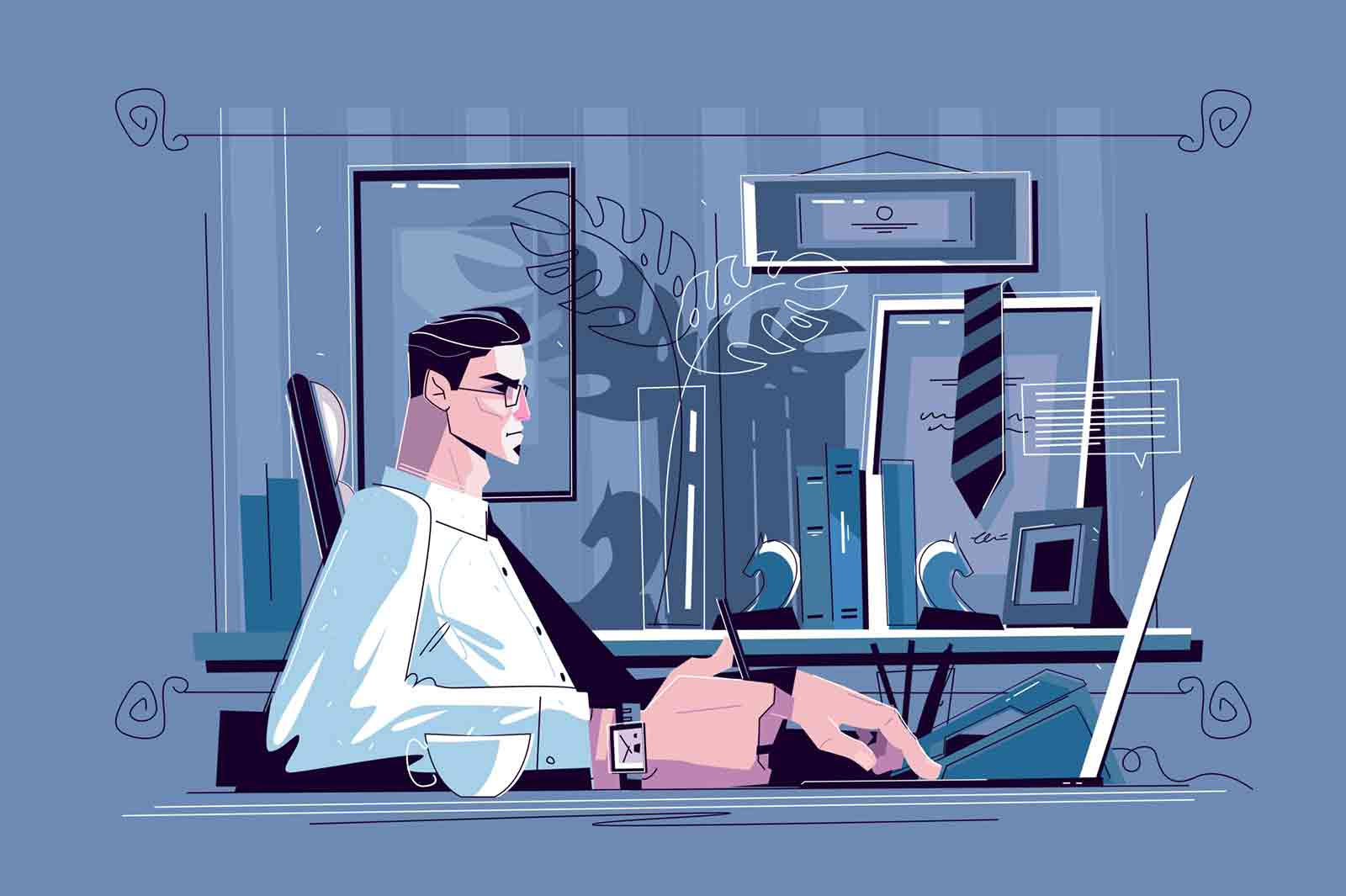 Businessman sitting at workplace vector illustration. Man in biz suit and glasses working with computer in cabinet flat style concept. Modern office interior