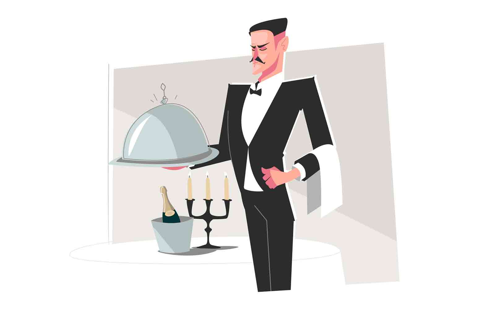 Man butler in suit vector illustration. Professional butler dressed in tuxedo serving tray with luxury food flat style. Welcoming stylised waiter and good service concept. Isolated on white background