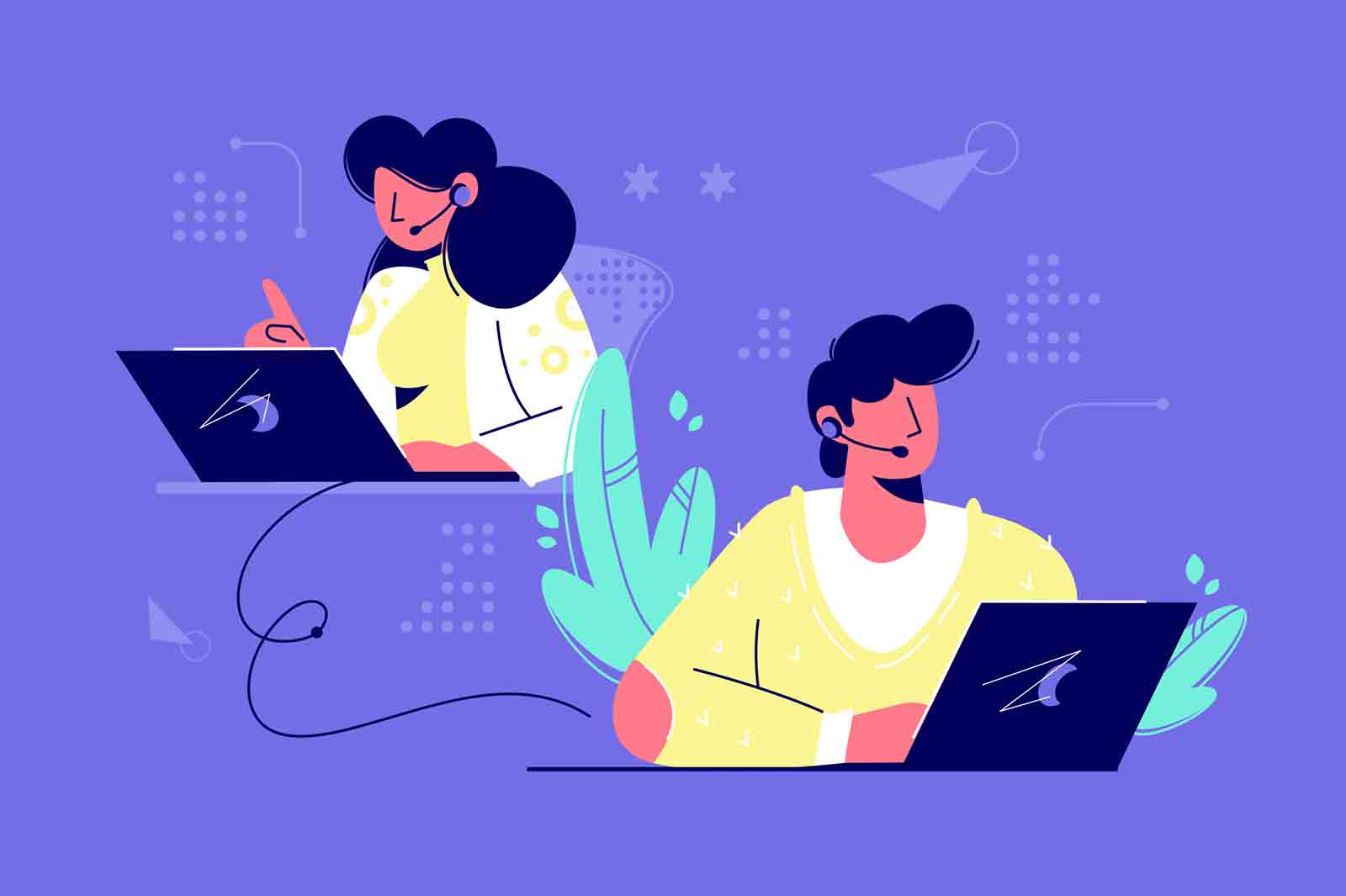 Call center assistants vector illustration. Man and woman operators in headset advising customers flat style design. Providing support service concept