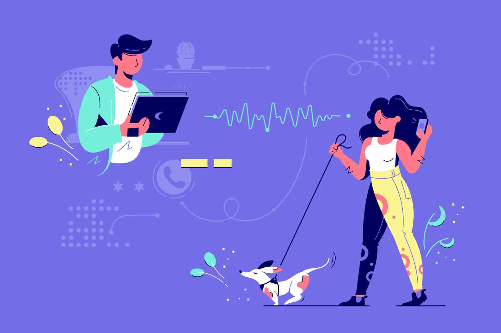 Communication with friends via modern gadget vector illustration. Woman walking dog and talking on phone. Man using tablet for chatting flat style concept