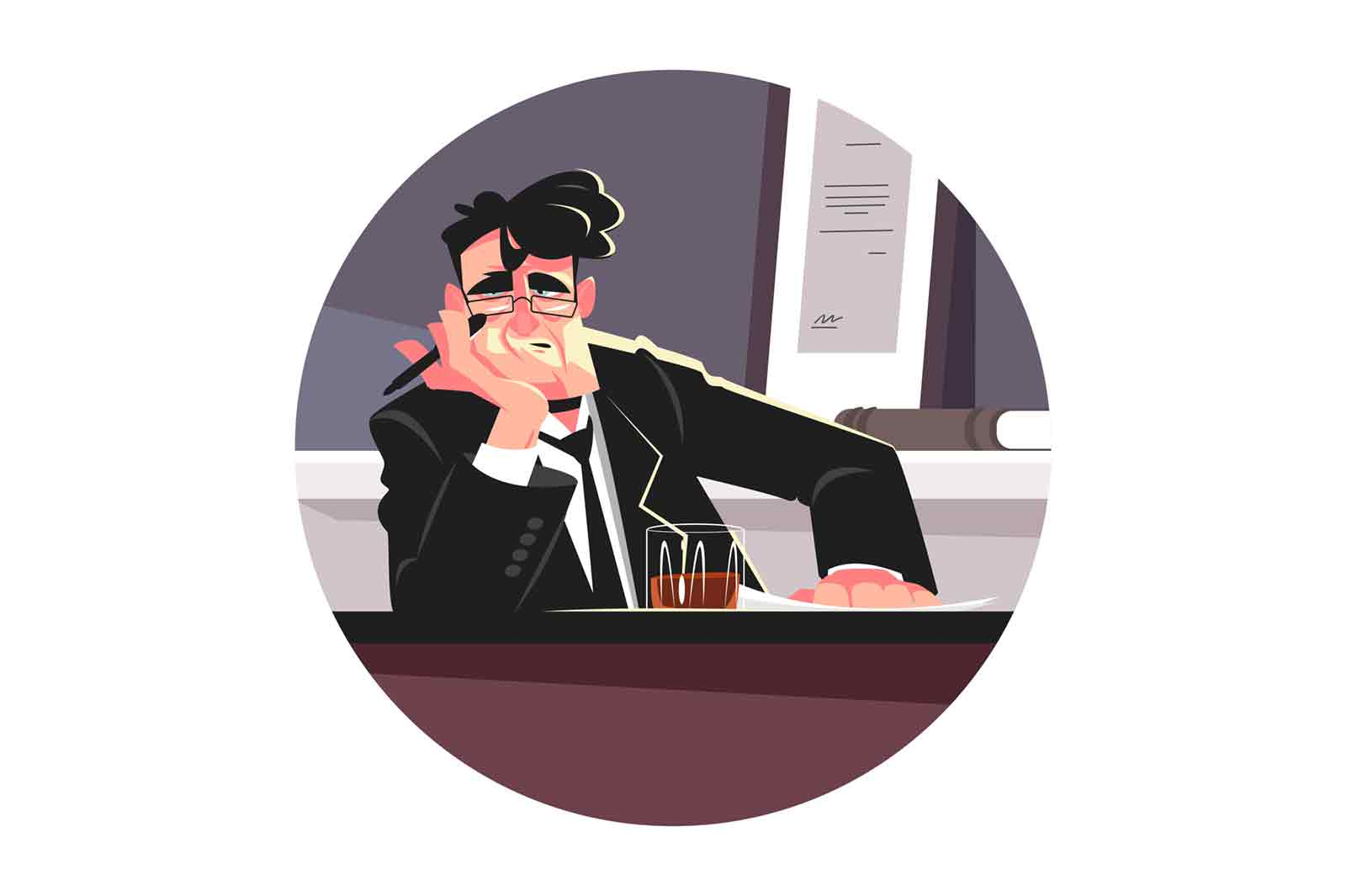 Tired editor man in office vector illustration. Exhausted person with glass of whiskey in personal office flat style. Publishing and journalism concept. Isolated on white background