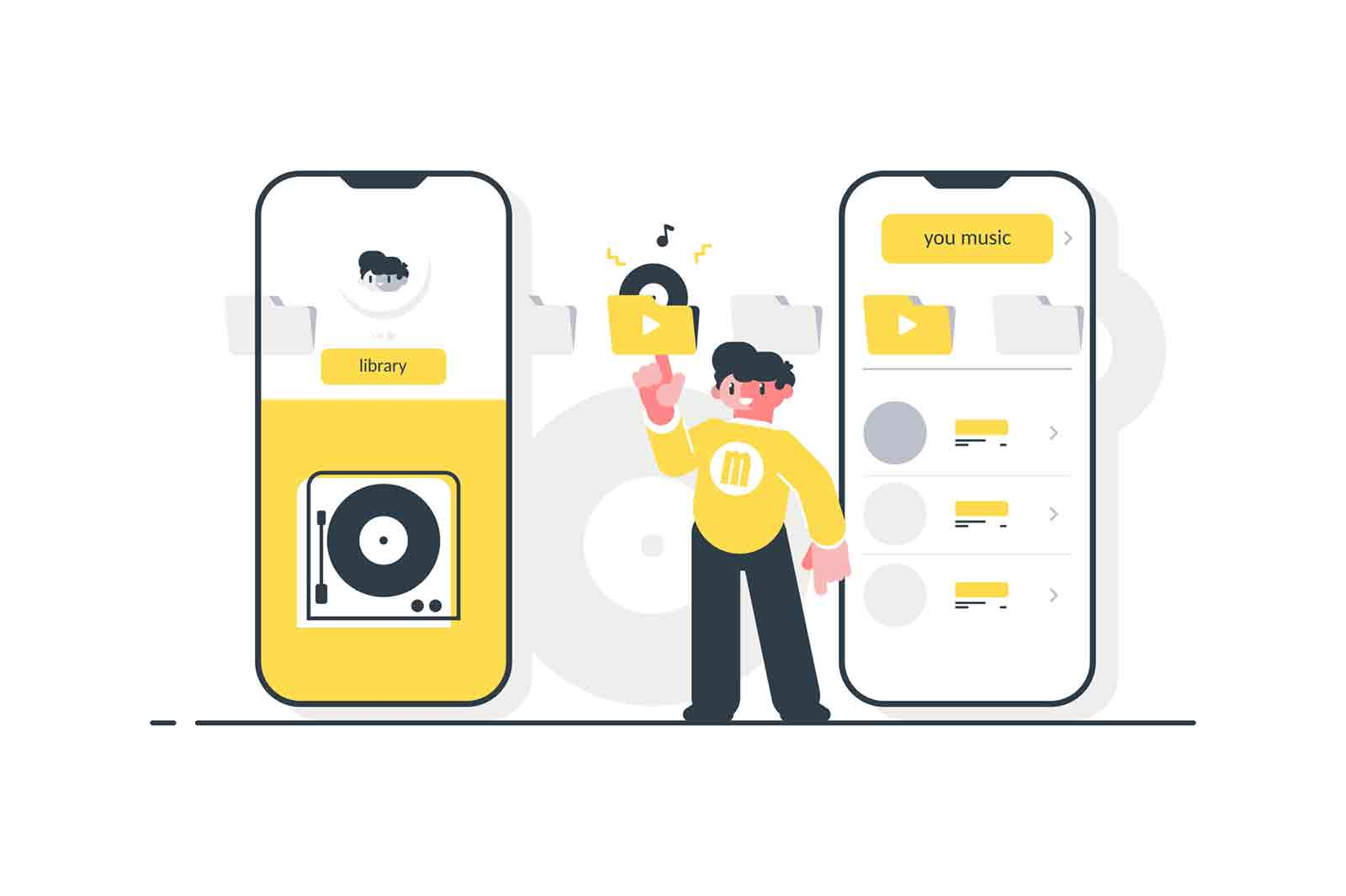 Man choose to listen favorite tracks vector illustration. Cartoon guy standing near modern gadgets and pressing button play. Music player and smartphone.