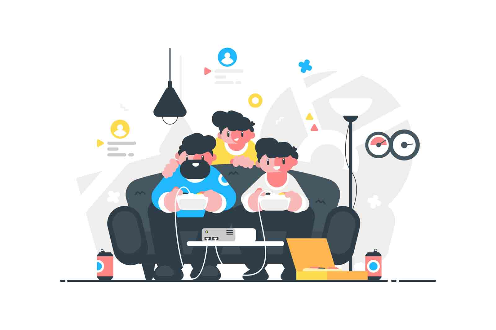 Friends playing video games vector illustration. Professional computer gamers flat style. Entertainment and play like pro concept