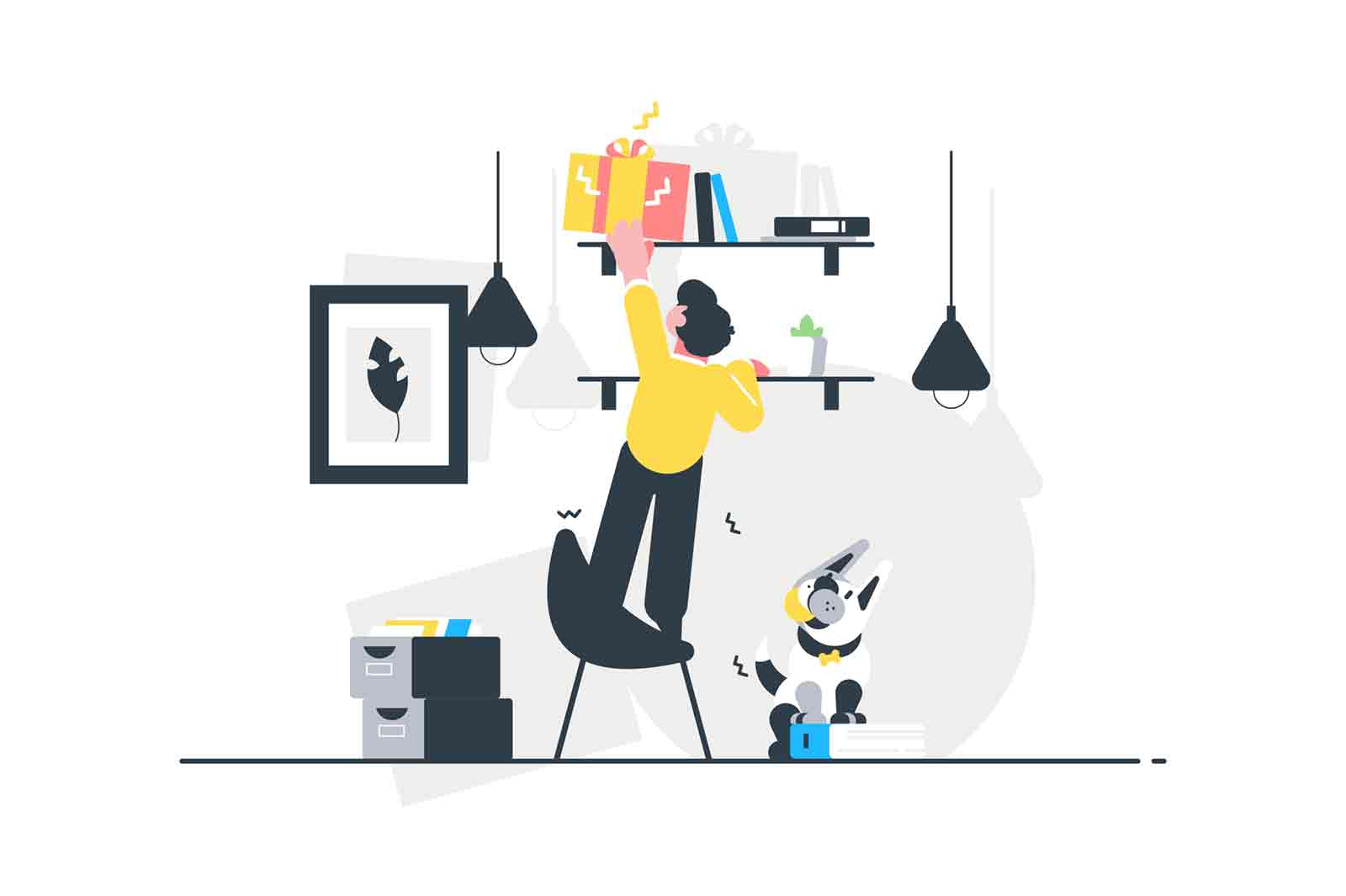 Man trying to reach gift box vector illustration. Man standing on chair and trying to reach festive present box lying on shelves flat style design. Happy Birthday and surprise concept