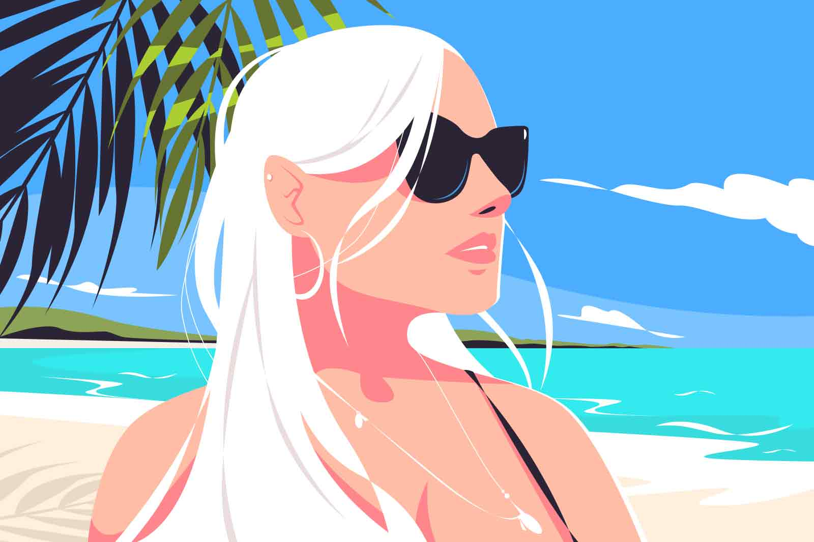 Blonde girl relax on beach vector illustration. Hot summer landscape flat style. Female in sunglasses on holiday in tropics. Vacation, relaxation and tourism concept. Ocean and sand on background
