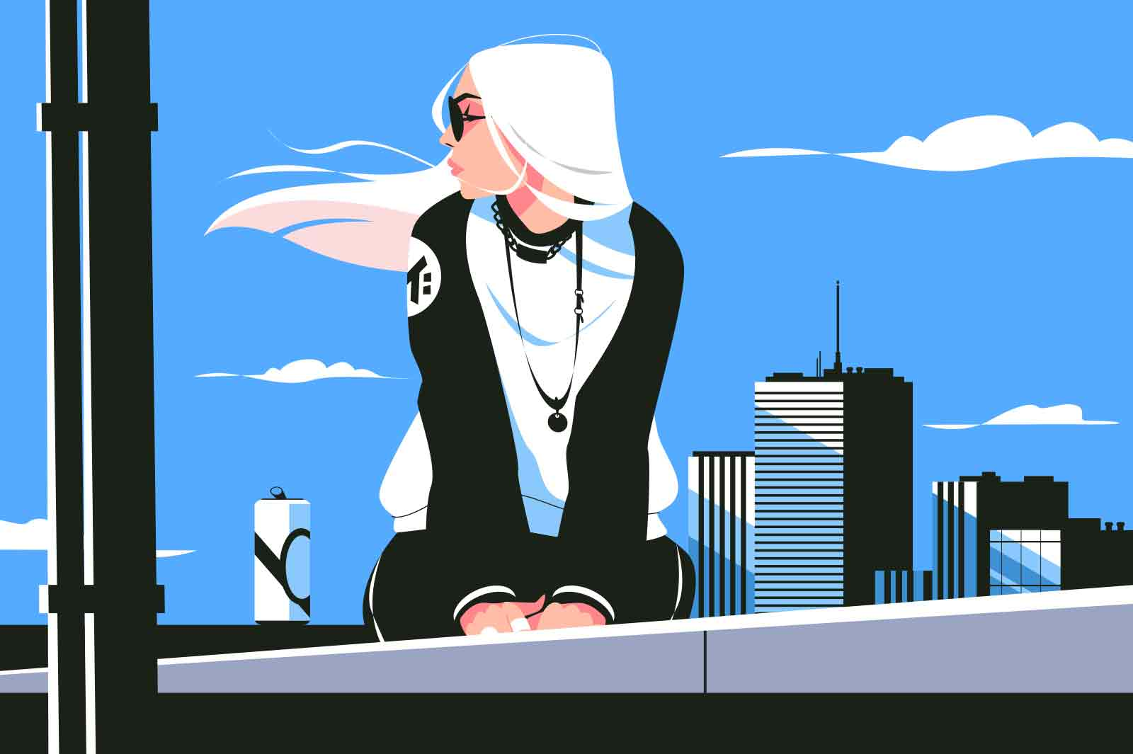 Girl sitting on building roof vector illustration. Woman in pensive mood dreaming on high roof flat style. Time alone and sadness concept. City urban constructions and blue sky on background