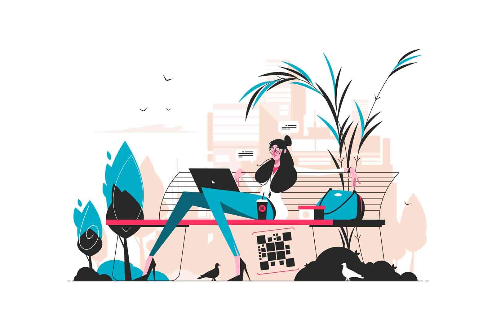 Girl having lunch in park vector illustration. Young woman working on laptop and drinking coffee flat style design. Brunette sitting on bench in parkland flat style design