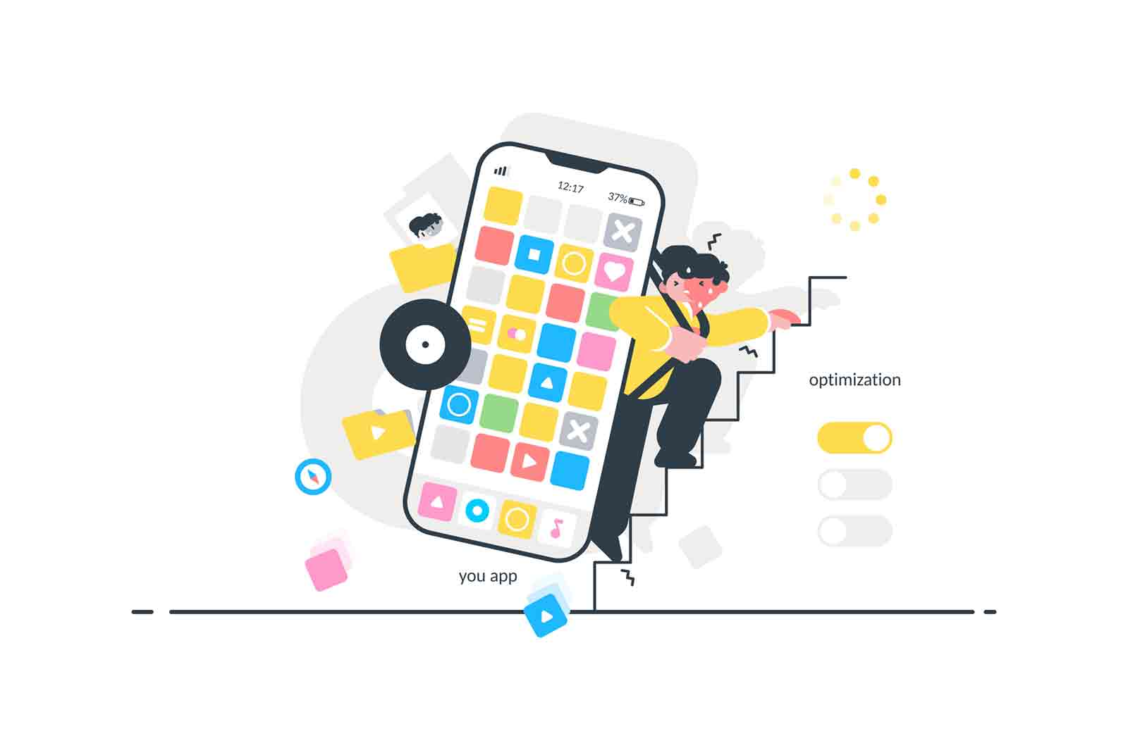 Heavy modern smartphone vector illustration. Guy climbing stairs and carrying on back big cellphone flat style design. Programs and apps icons. Optimization concept