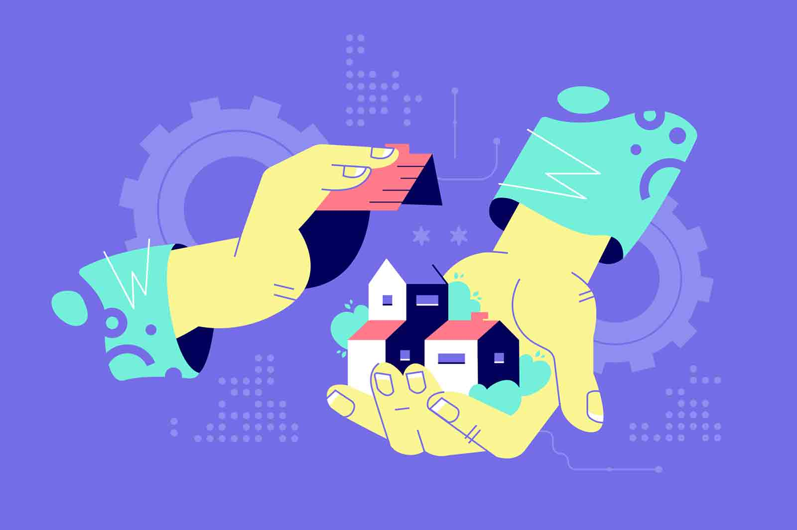 Hands holding building. Abstraction male hands building two-storey home construction. Building on purple background. Vector illustration.