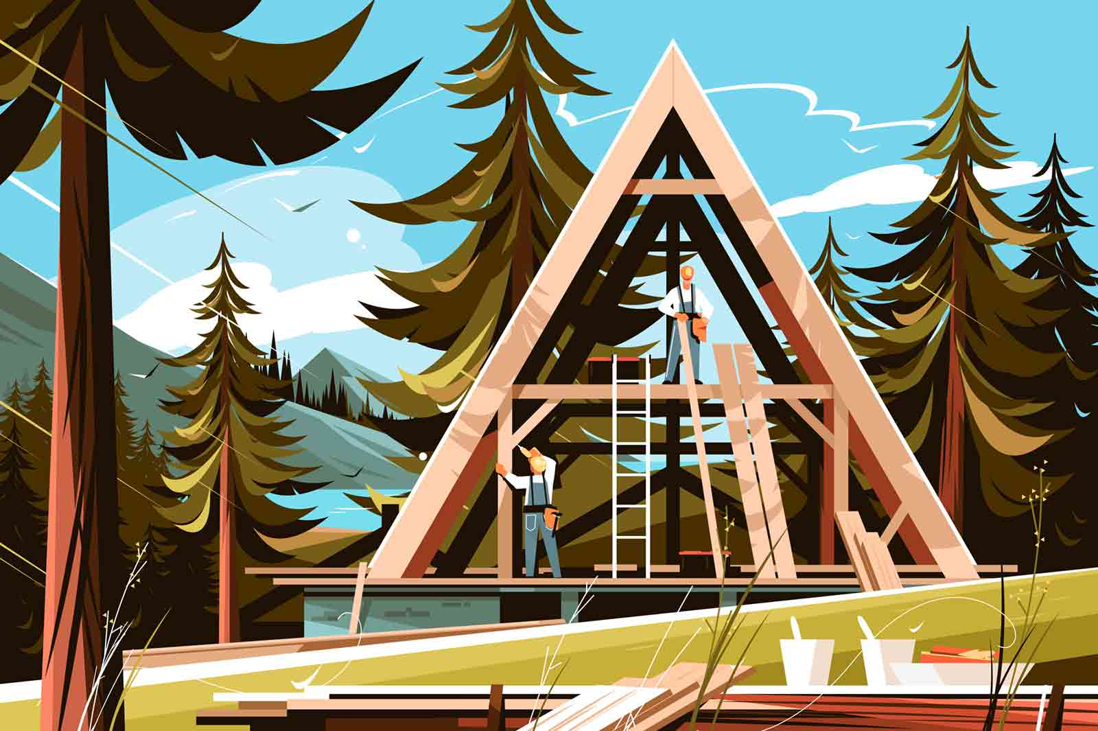 Home construction in picturesque place vector illustration. Builders in helmet and special robes building two-storied wooden house in pine forest flat style concept