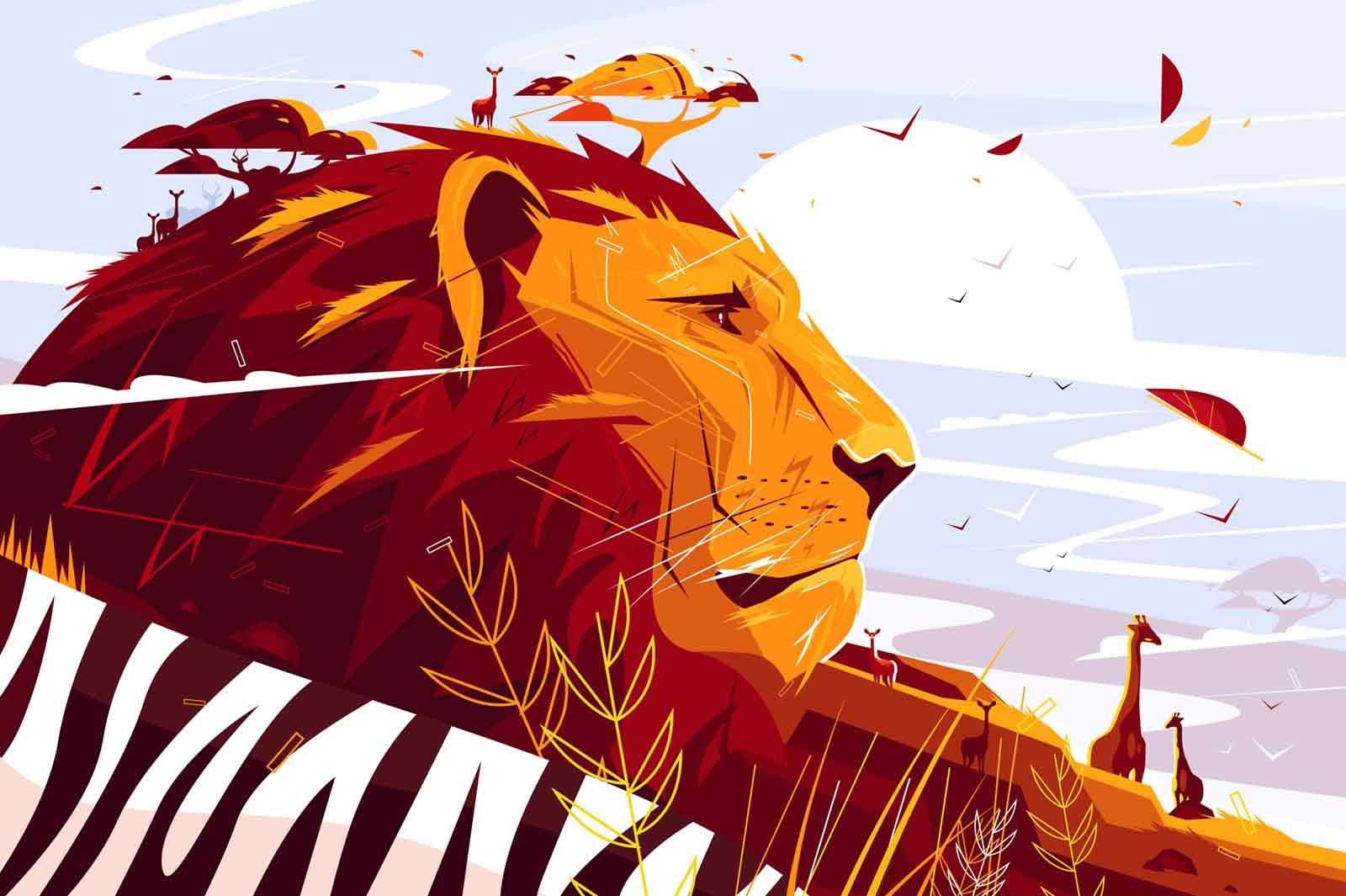 Majestic lion on safari vector illustration. King of beasts lying and giraffes walking flat style concept. Wild picturesque savannah landscape on background