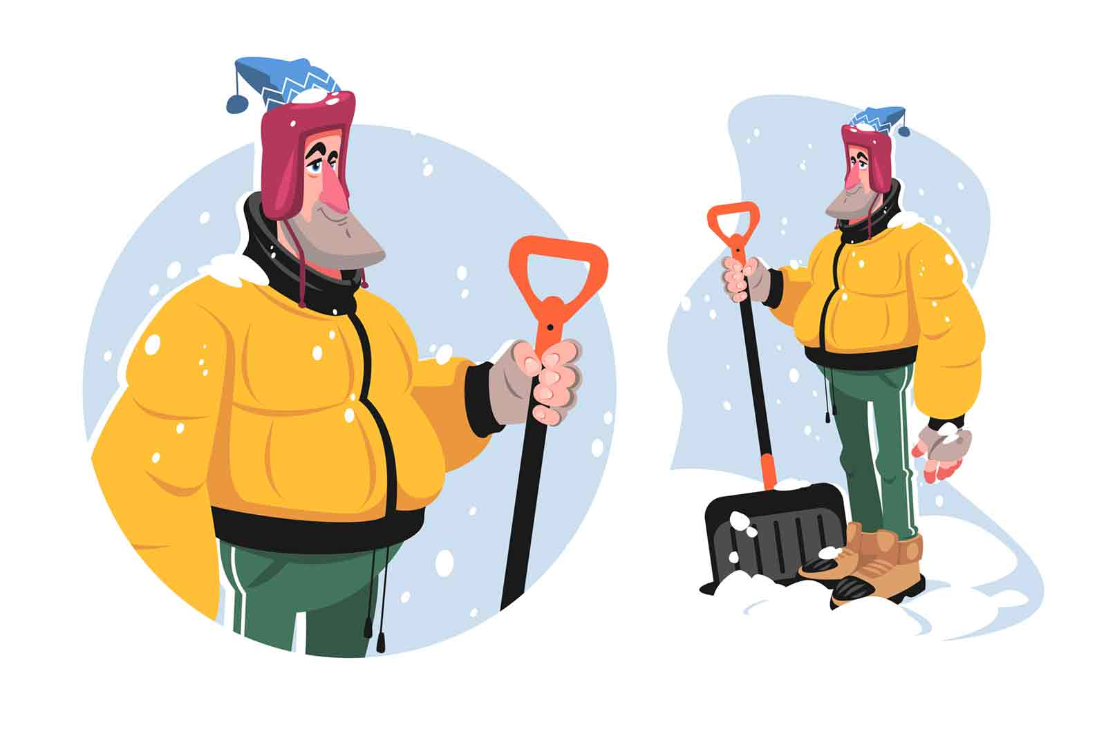 Man with shovel tool vector illustration. Adult man in winter outfit ready to remove snow flat style. Snowy weather and cold. Winter and outdoors activity concept. Isolated on white background