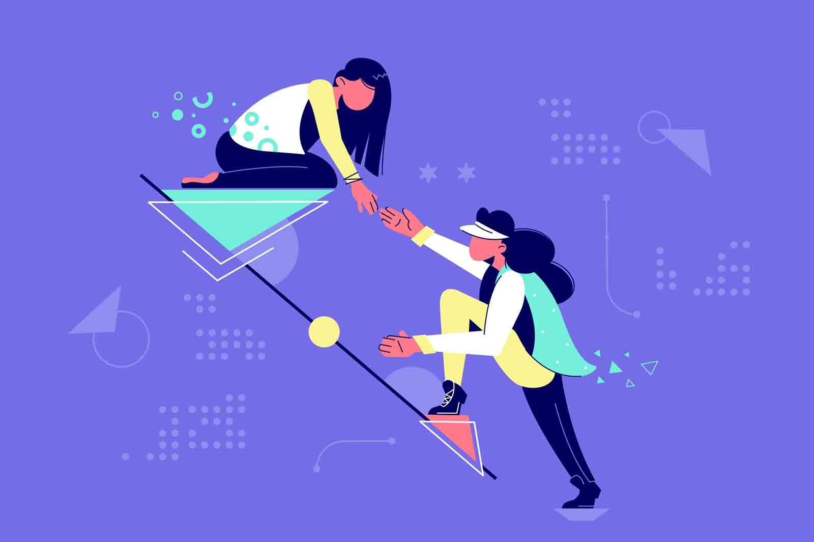 Young attractive woman mutual assistance female partners. Concept businesswomen character helping each other together in raising career. Vector illustration.