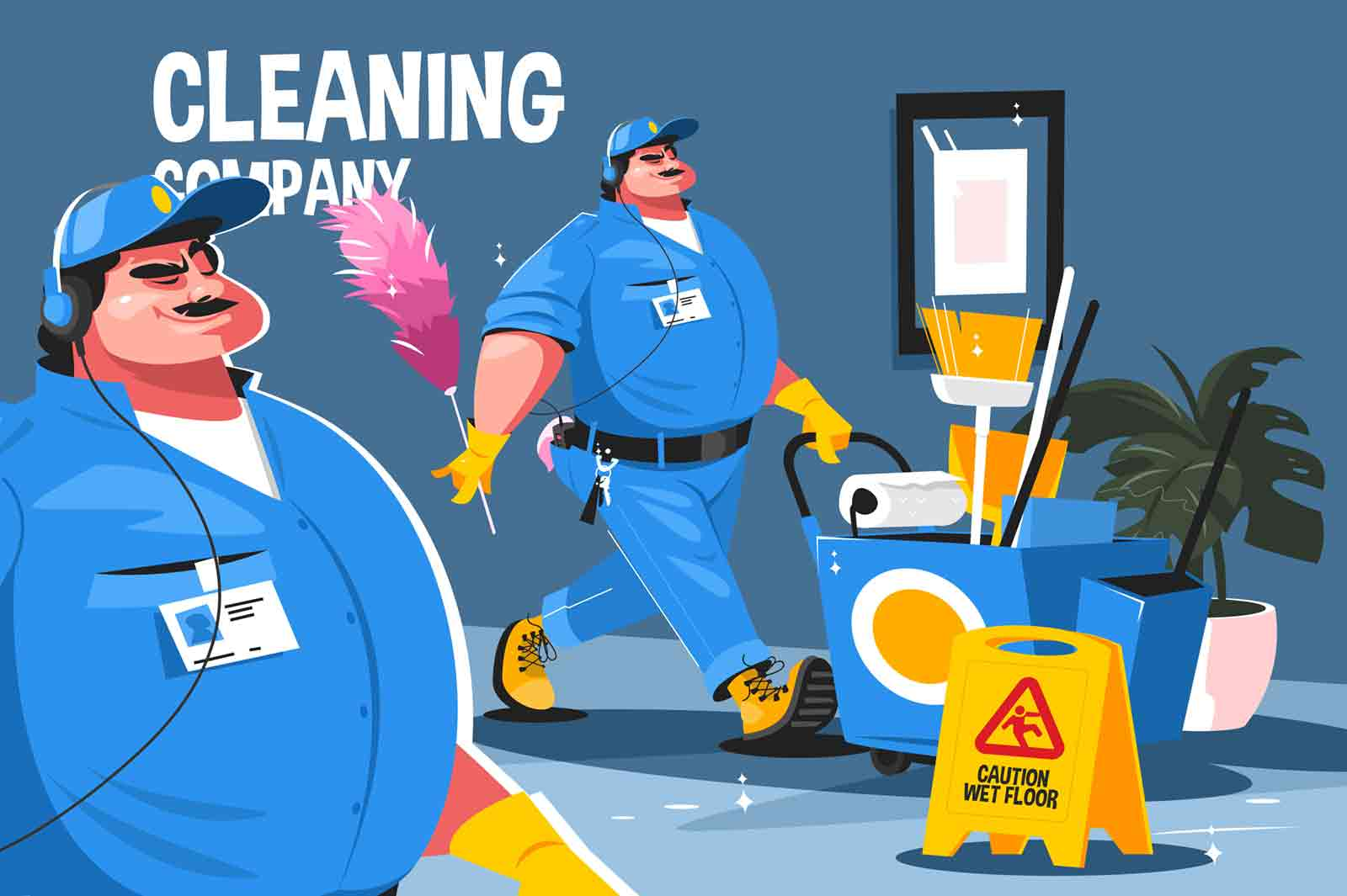 Cleaning company service vector illustration. Professional cleaners in uniform clean office with special tools, equipment and cleaning products flat style concept