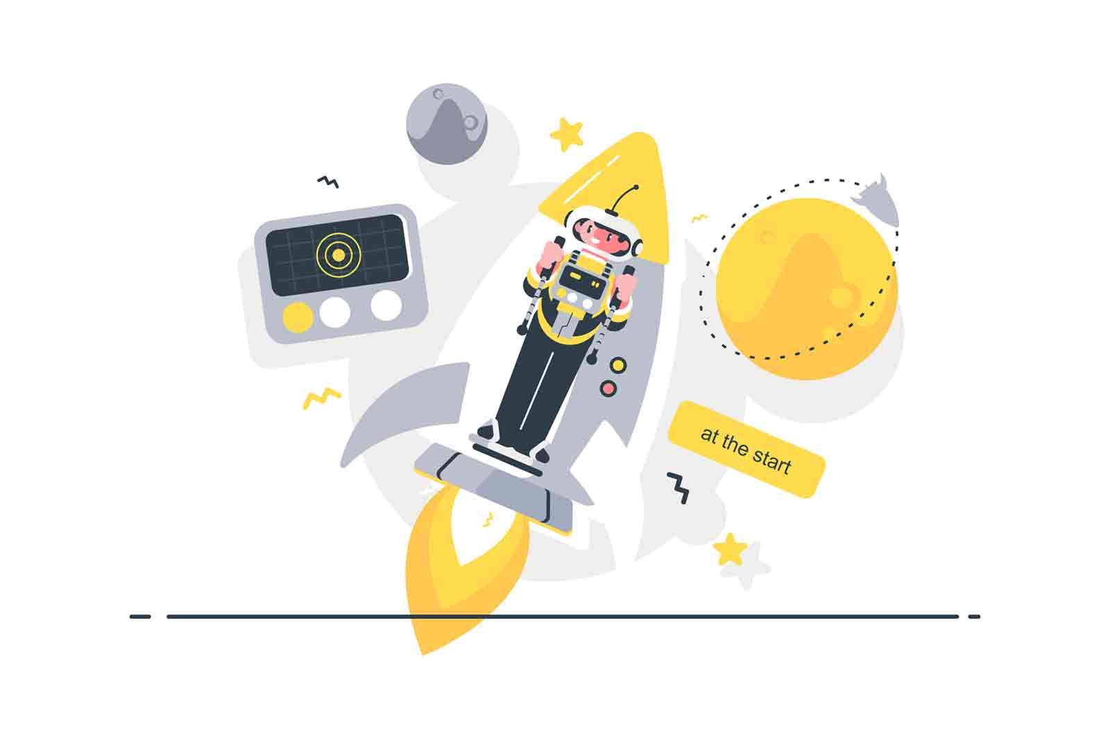 Start up on rocket jet pack vector illustration. Guy wearing spacesuit and flying on spaceship to cosmos flat style design. Stars and planets on background. Spacecraft launch concept