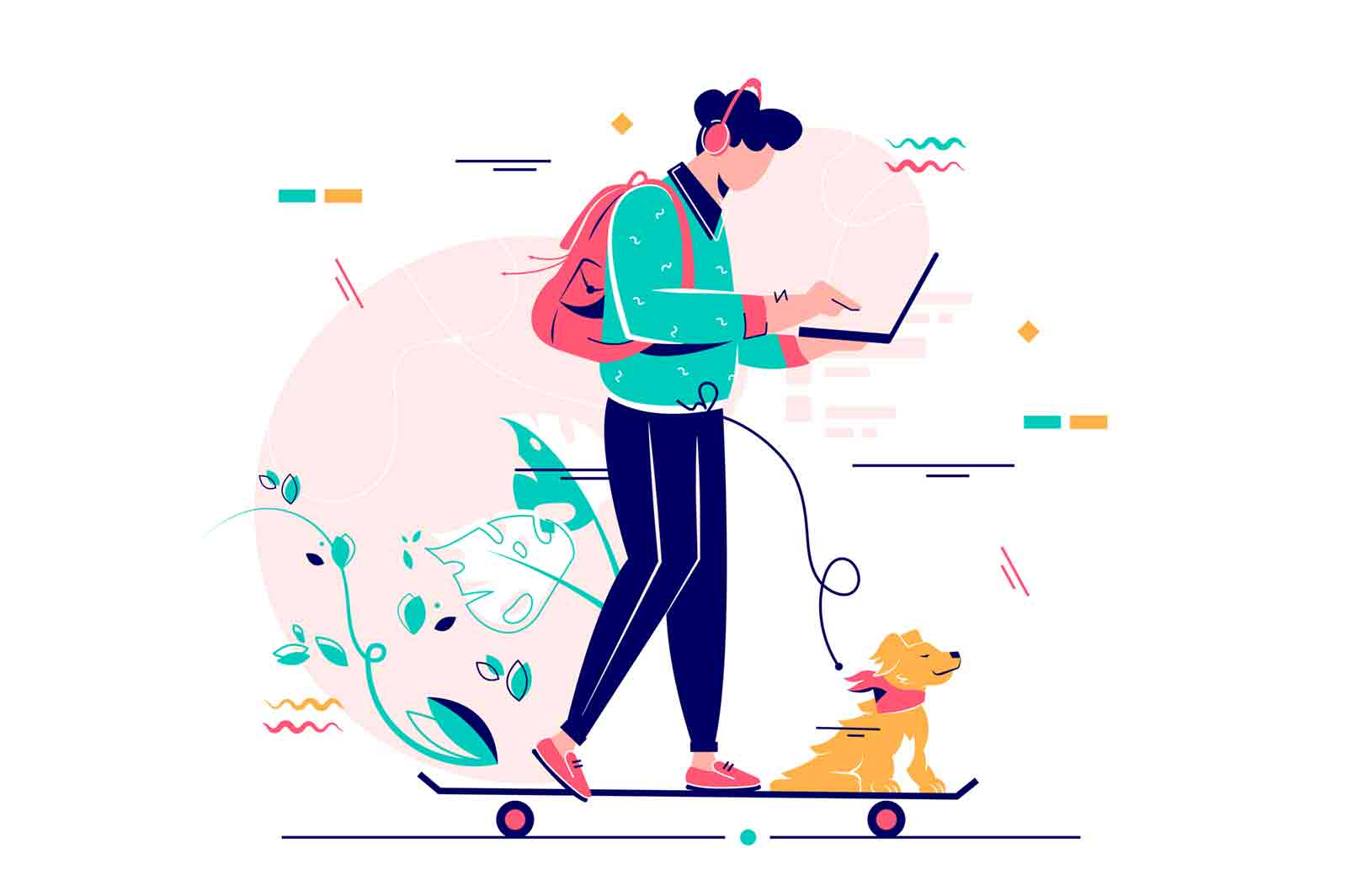 Young man freelancer with dog using laptop on skateboard. Concept flat vector illustration isolated on white background.