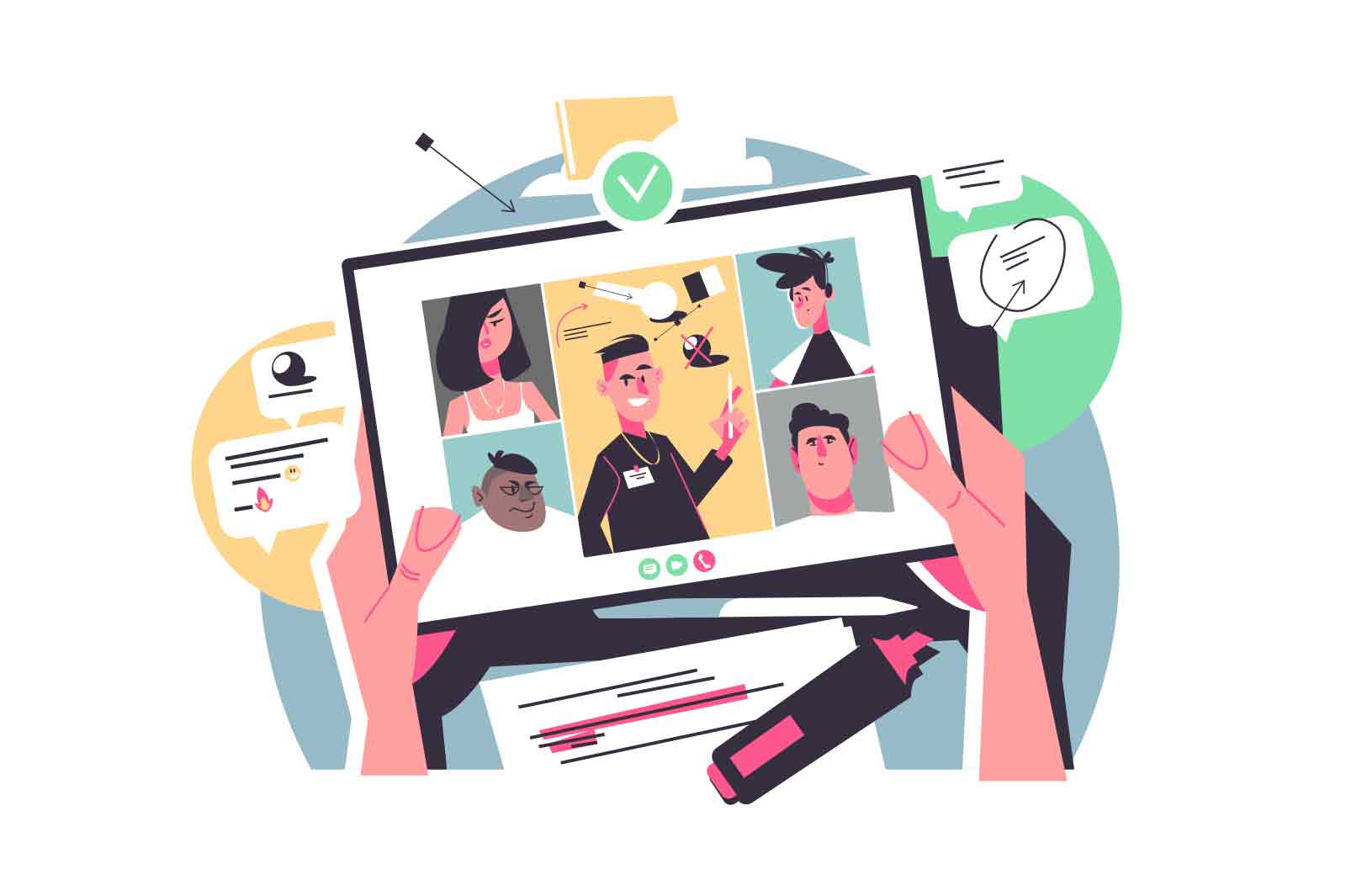 People connecting together on online conference vector illustration. Person with tablet, team discuss work project flat style. Remote work, online, freelance concept. Isolated on white background