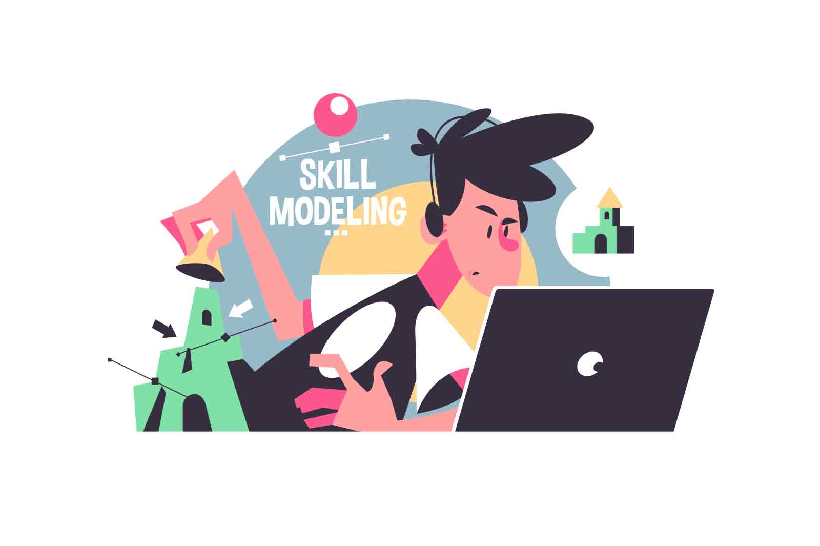 Guy busy with skill modeling vector illustration. Online school second lesson from home flat style. Remote education, knowledge, new information concept. Isolated on white background
