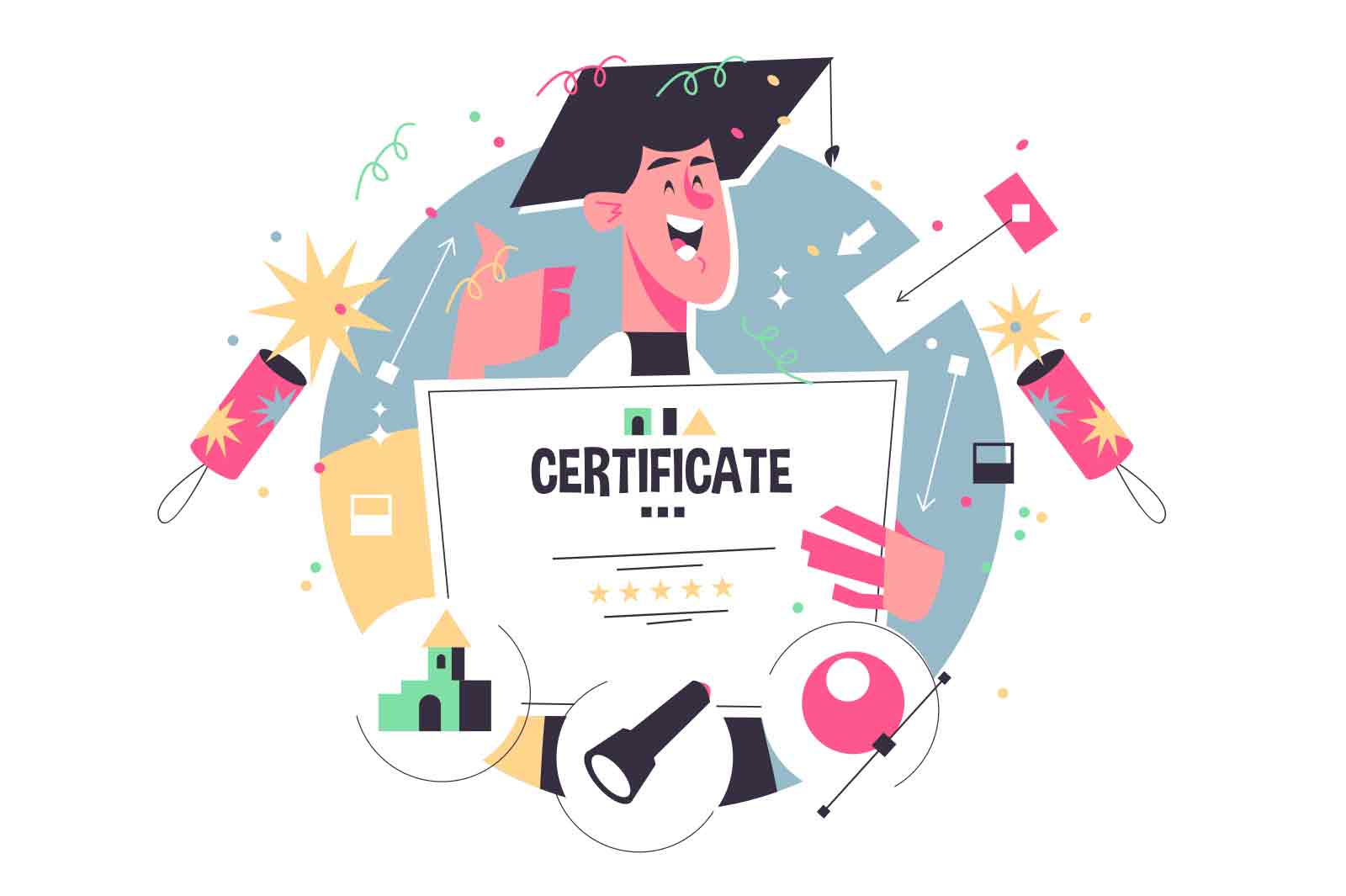 Guy with certificate after online school vector illustration. Happy graduate teenager in hat flat style. Finish distance learning. Home education, knowledge concept. Isolated on white background