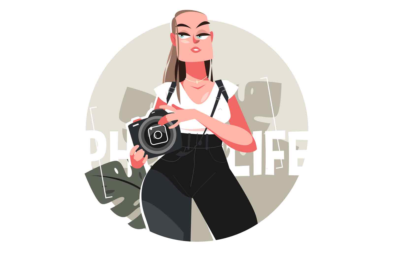 Girl luxury professional photographer vector illustration. Stylish and attractive woman with camera flat style. Modern and creative occupation concept. Isolated on white background