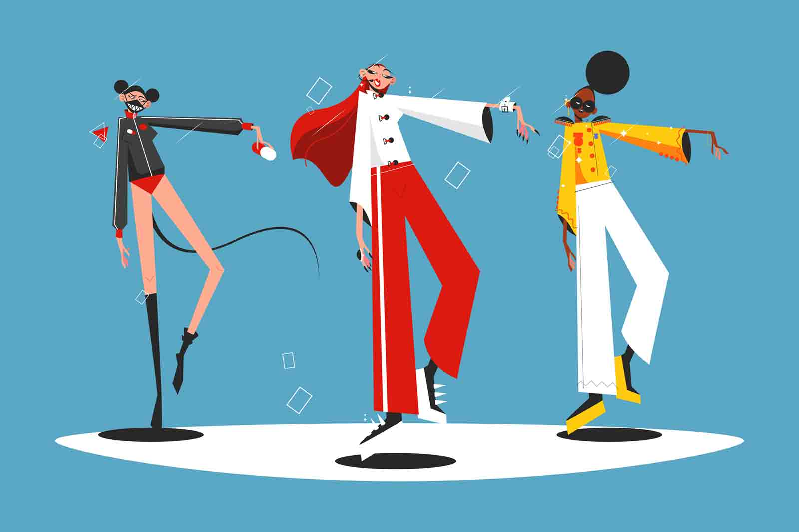 Music band performance vector illustration. Multinational women band in fashionable costume dancing on stage flat style design. Show business concept