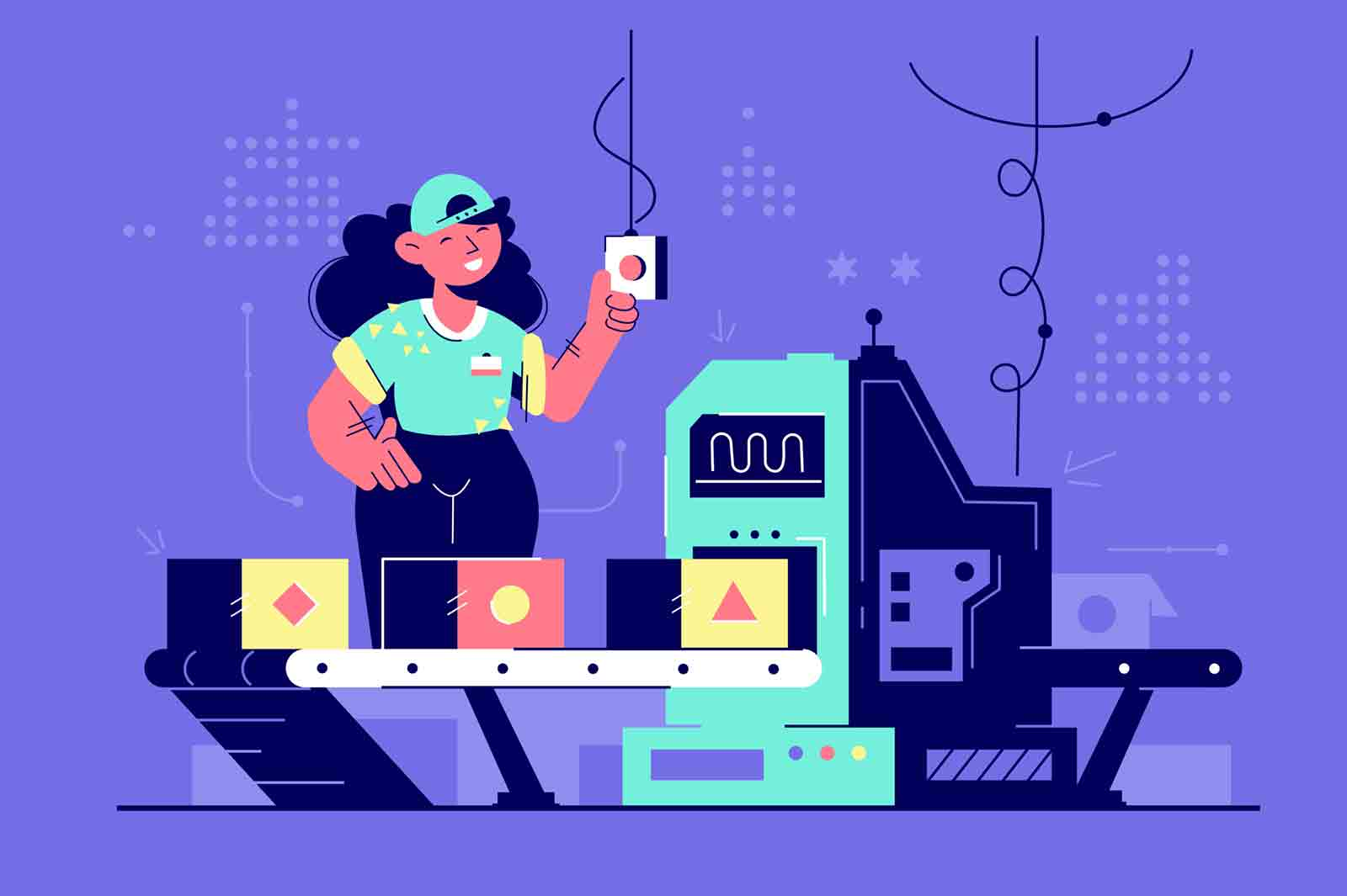 Happy woman at work controlling automatic production. Concept smiling businesswoman employee character with modern technology and classic interface. Vector illustration.