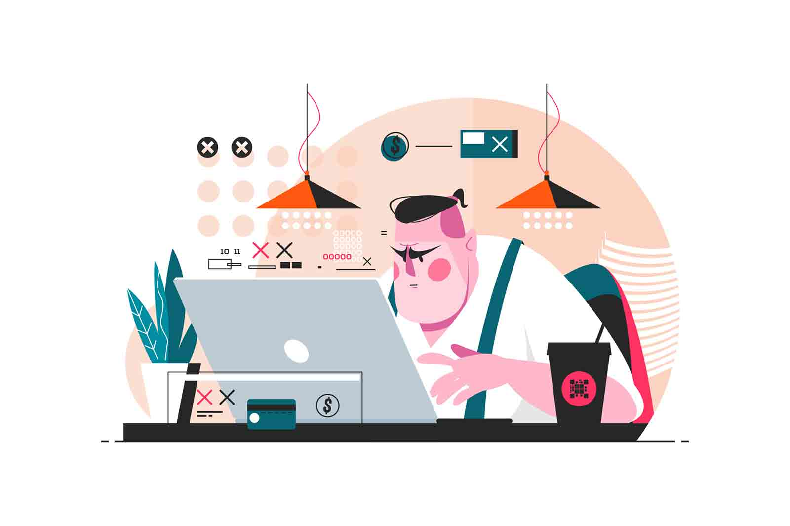 Programmer working on laptop in office vector illustration. Man writing computer programs on pc flat style design. Process of creating modern software concept
