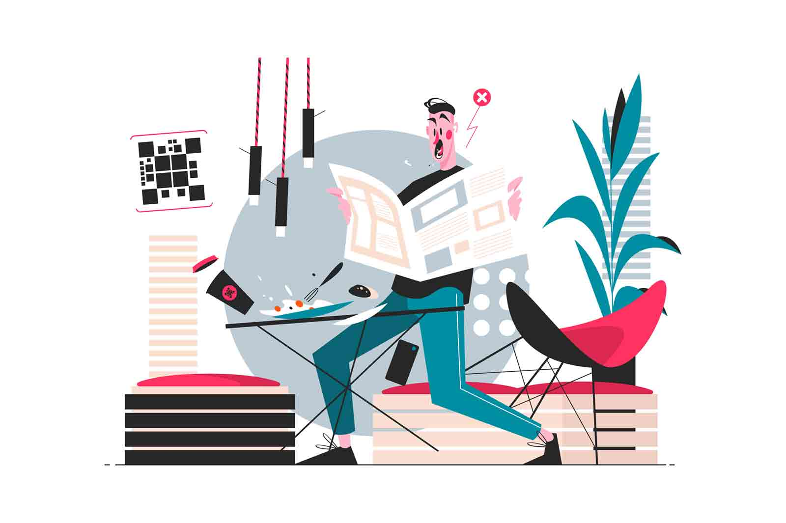Guy reading morning newspaper vector illustration. Surprised man found out shocked news from press flat style design. Shocking breakfast tidings. Home interior