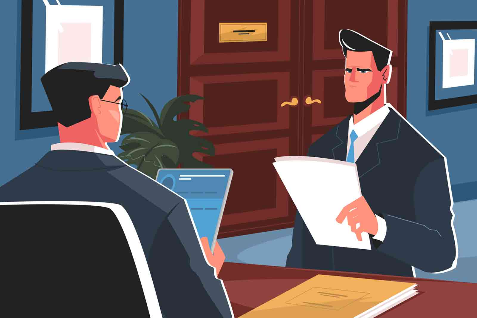 Recruiting in business vector illustration. Manager with job seecker at interview flat style design. Man holding resume for work. Hirier studying personal information of job applicant