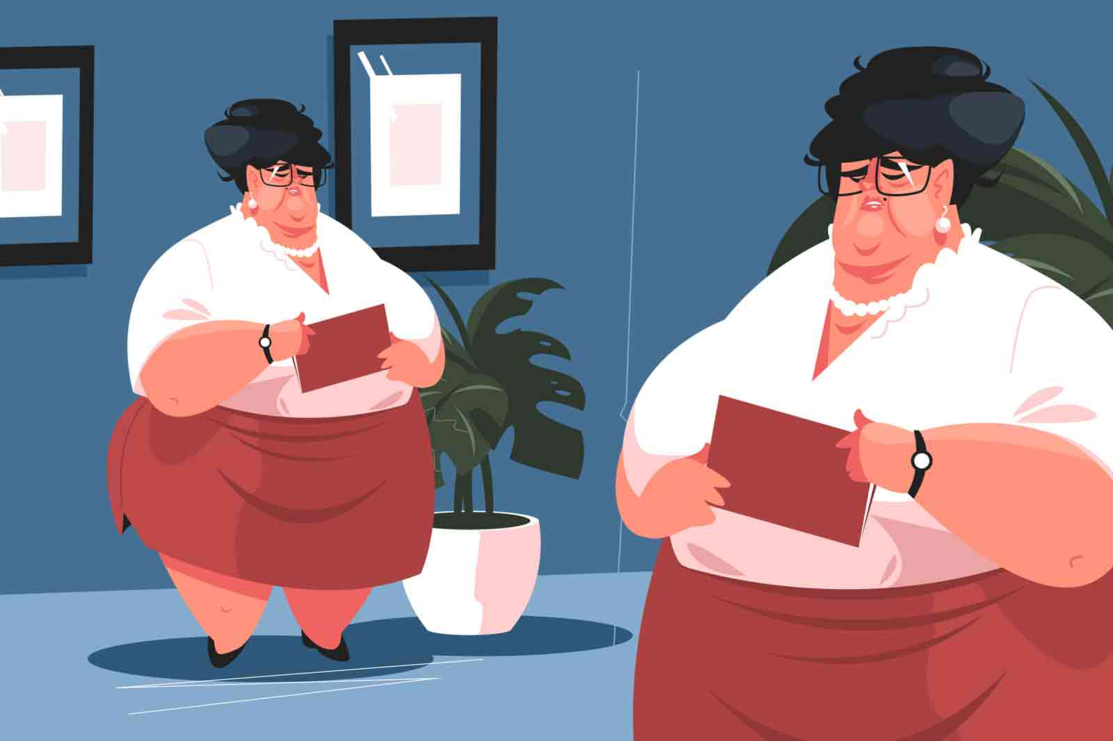 Chief office secretary vector illustration. Ugly woman in glasses at workplace. Assistant manager with bad figure in skirt and blouse holding paper folder flat style design