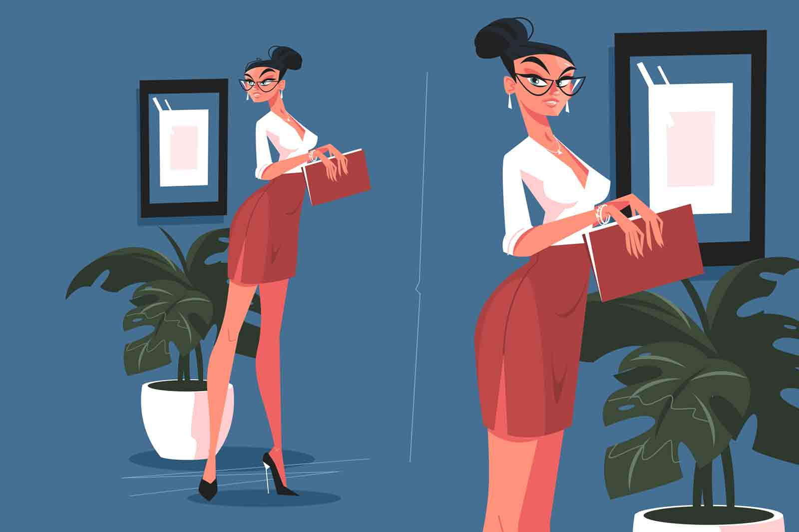 Cute secretary in office vector illustration. Attractive woman in mini skirt and blouse holding paper folder flat style concept. Stylish assistant manager