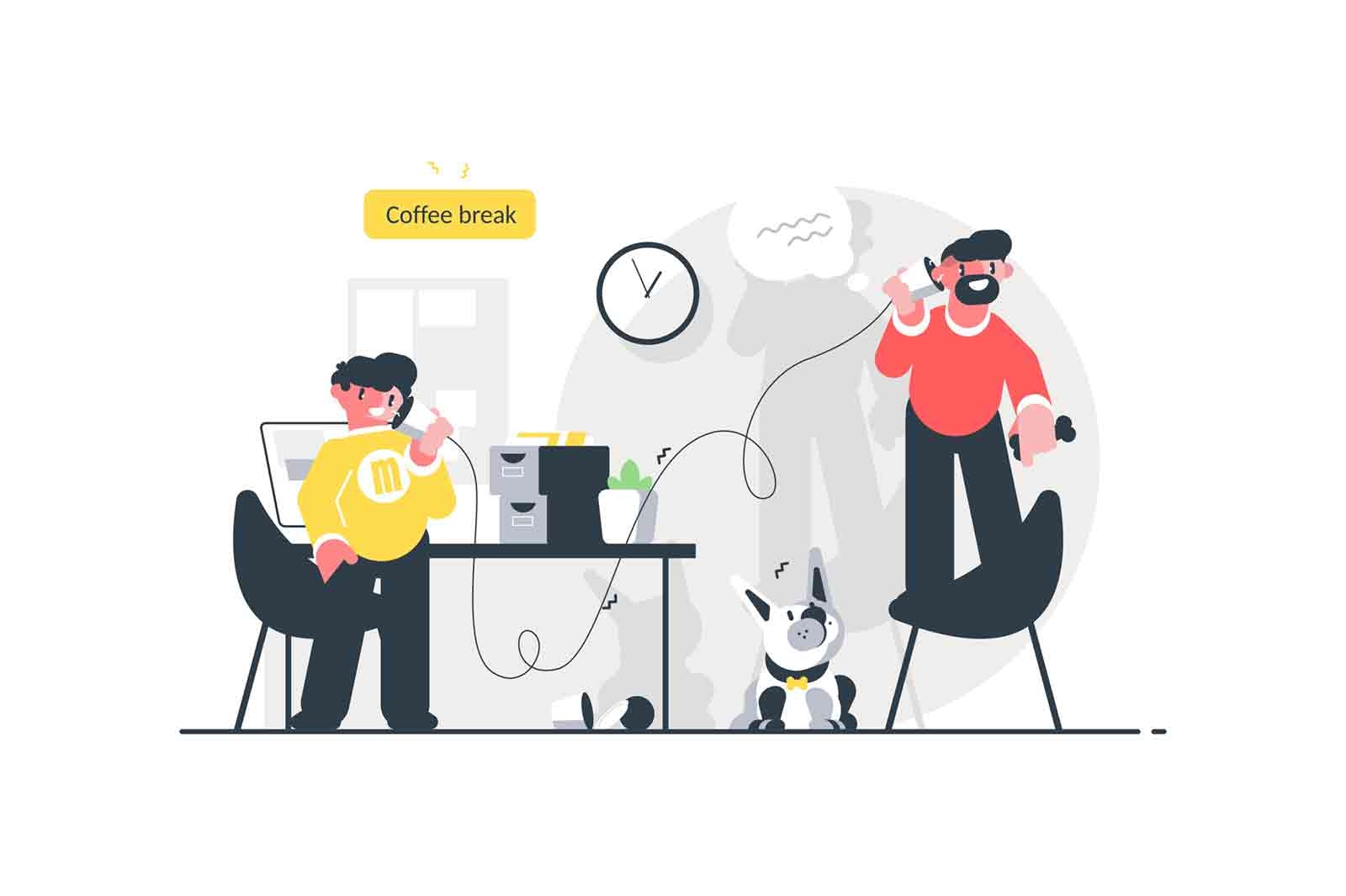 Men speaking on simple phone vector illustration. Colleagues communicating via old telephone and having fun during coffee break in office flat style concept