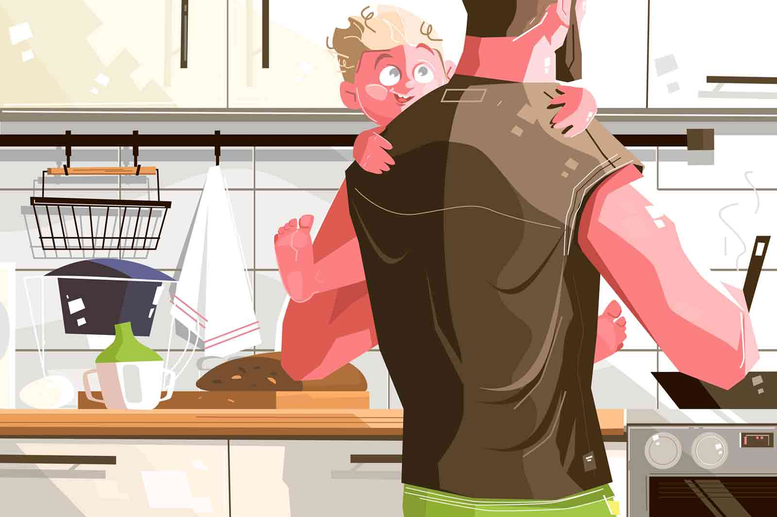 Single father with kid. Lonely dad cooking delicious meal for happy looking child vector illustration. Caring man holding only boy flat style design. Hard parenting lifestyle concept