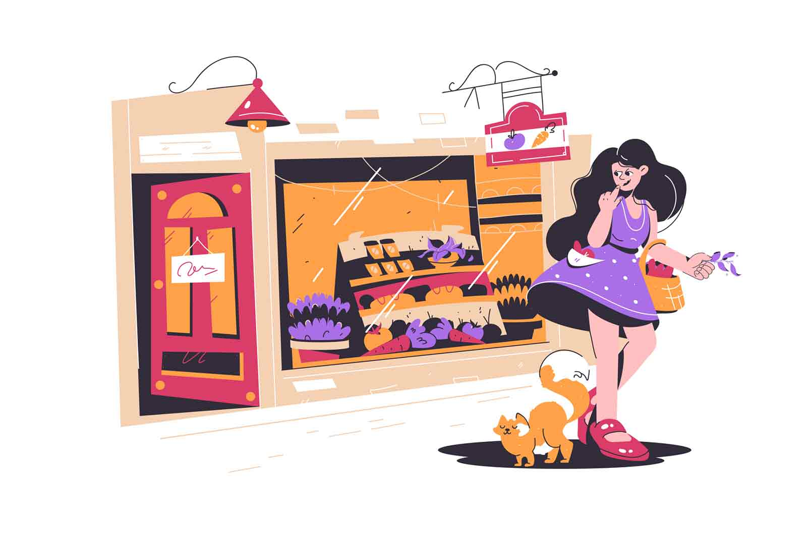 Cute girl shopping in small street shop vector illustration. Fresh grocery products in store flat style. Woman with cat pet. Small family business, shopping concept. Isolated on white background