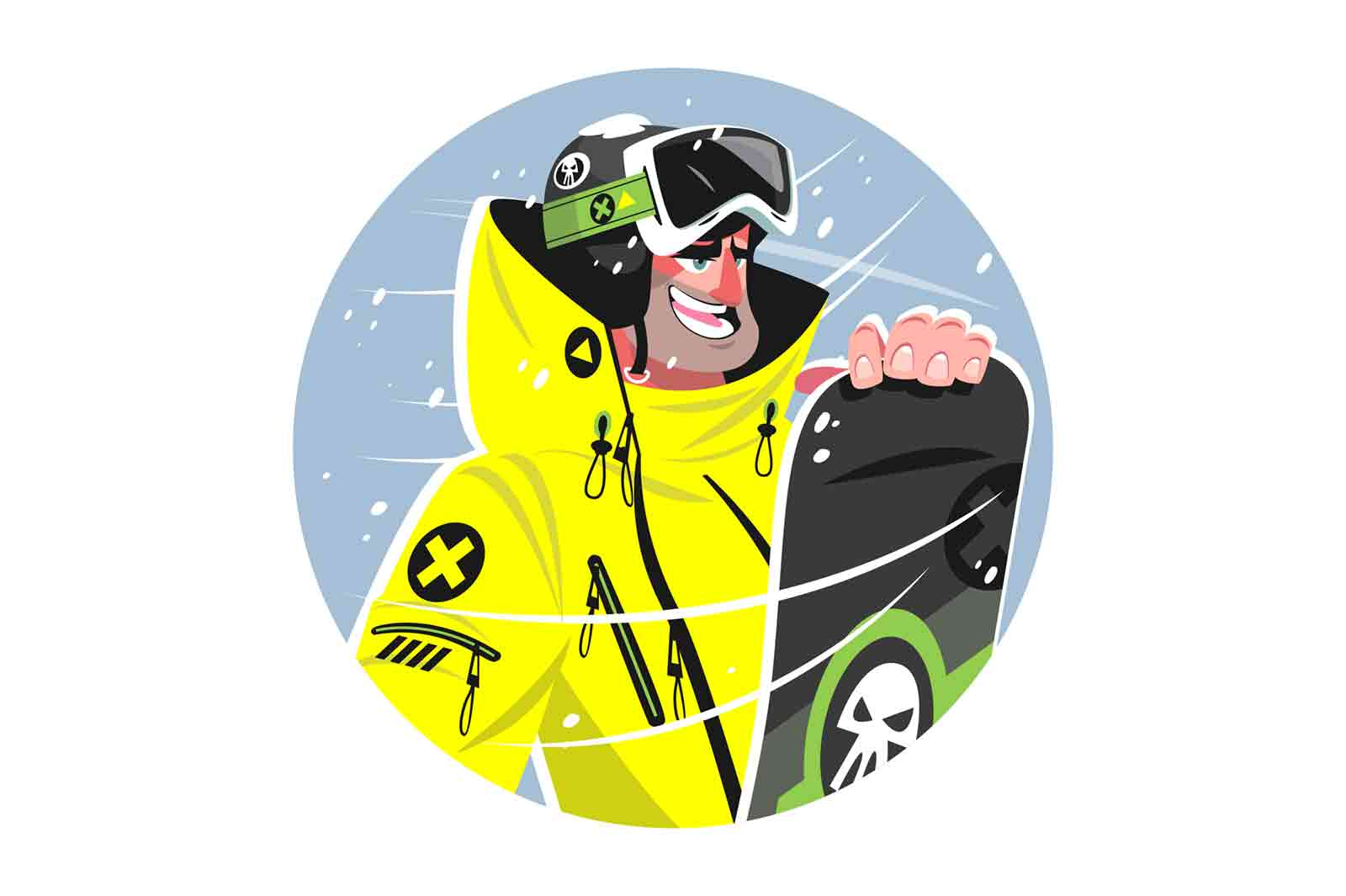 Happy man with snowboard vector illustration. Cheerful person ready for winter ride on snowboard flat style. Sport activity and holiday fun concept. Isolated on white background