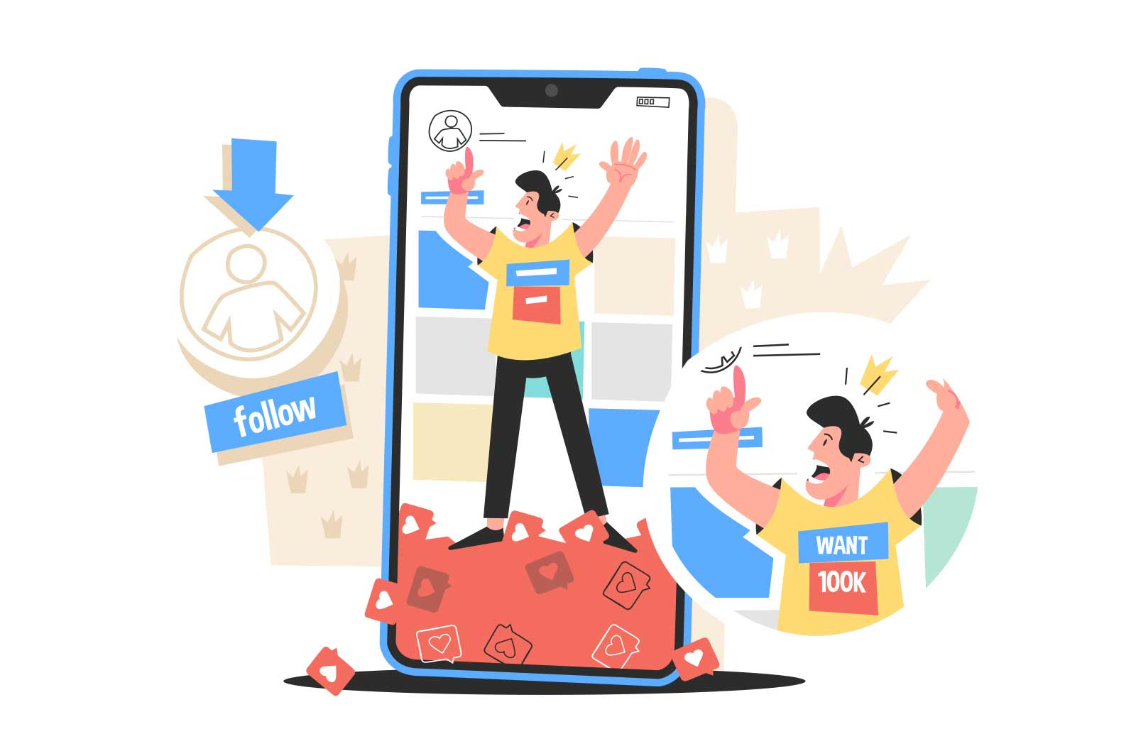 Guy browsing social networks account vector illustration. Man wants to increase number of followers flat style design. Smartphone screen with likes signs. Virtual life idea