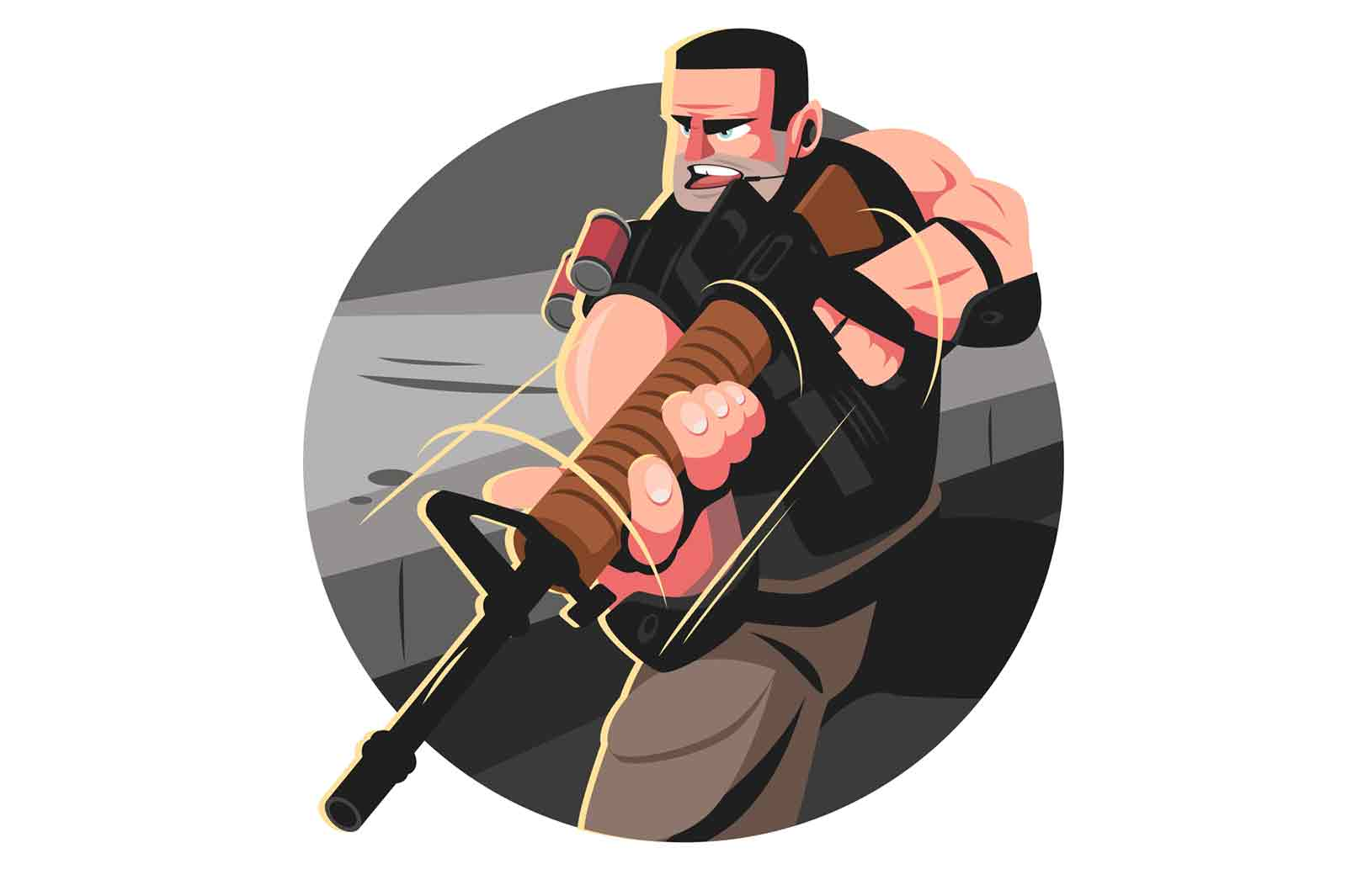 Man from special forces vector illustration. Guy in army combat uniform with weapon flat style. Male soldier at work. Military officer and guard service concept. Isolated on white background