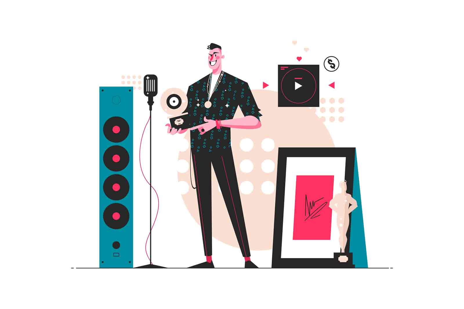 Music star reward vector illustration. Man stands in festive hall with prize won flat style design. Art, cinema concept. Isolated on white background