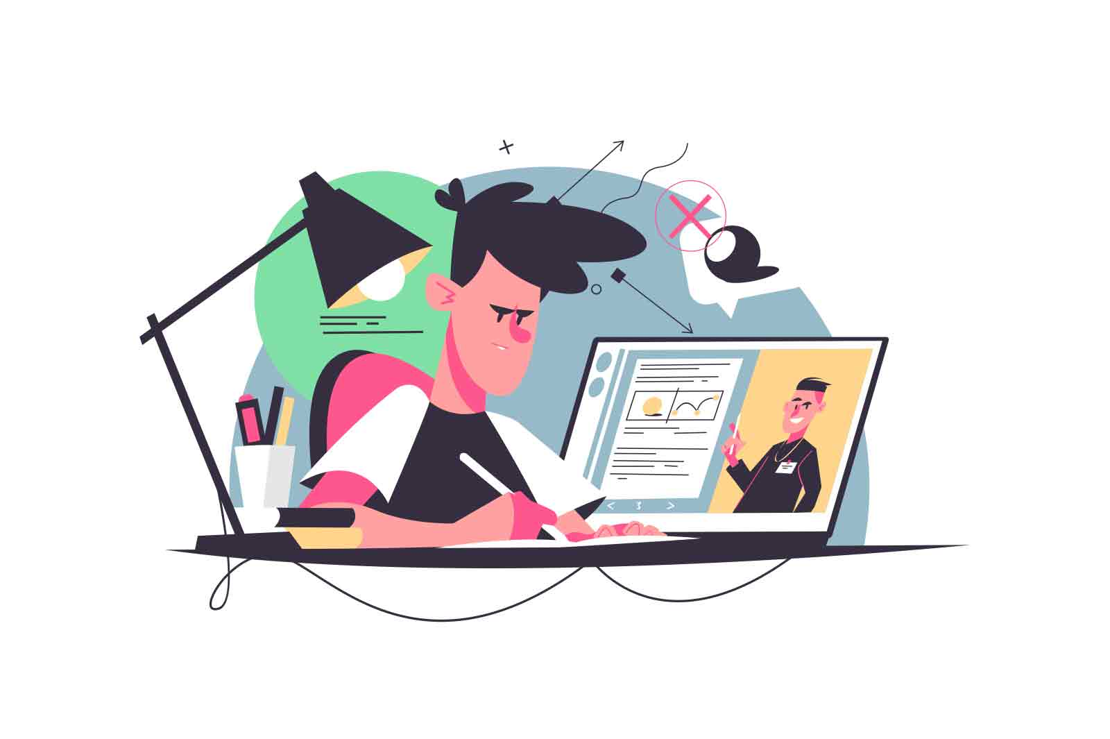 Student writes homework at desk vector illustration. Guy studying from home, laptop on table flat style. Education process, knowledge, remote study concept. Isolated on white background