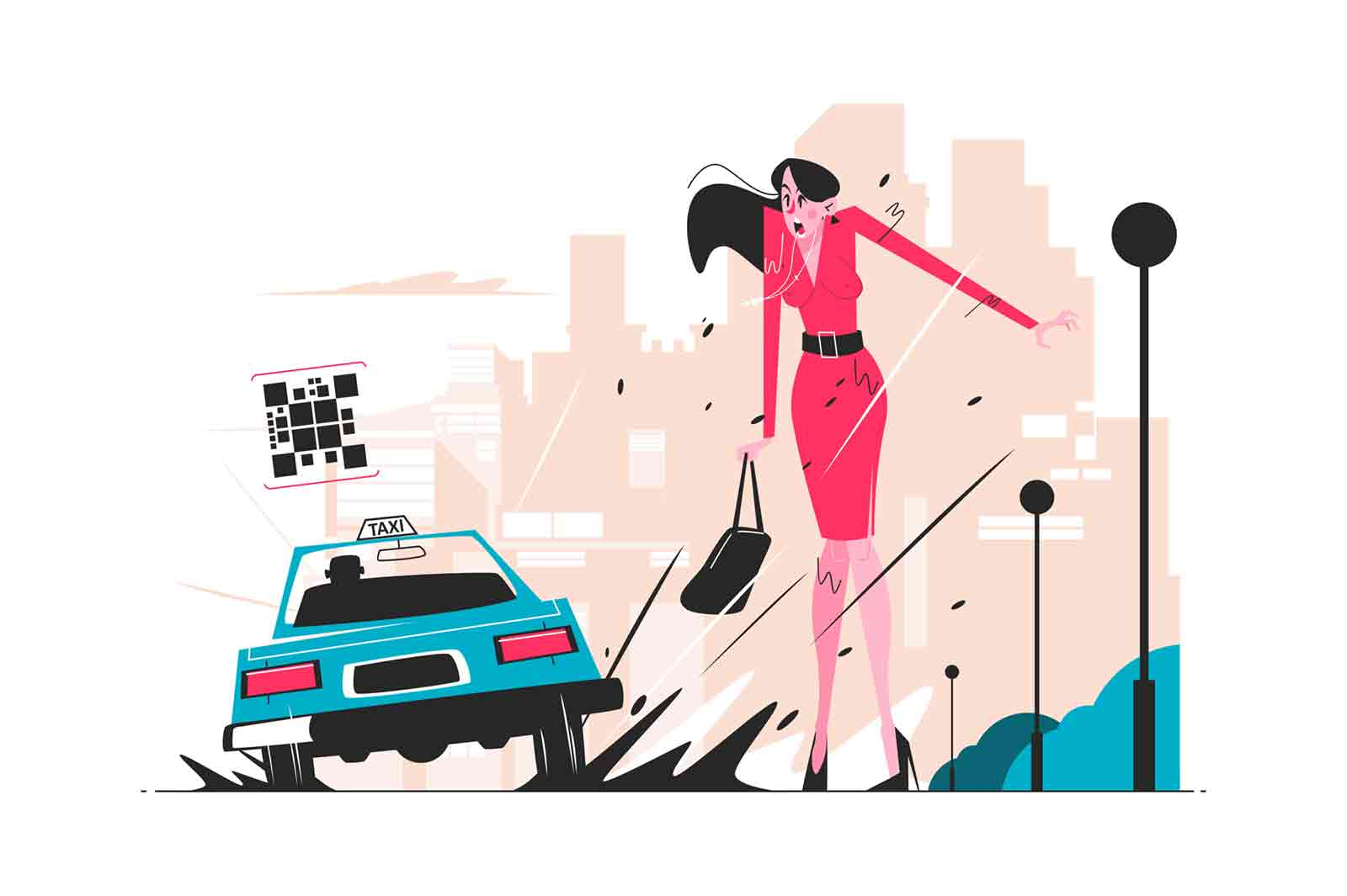 Taxi car splashing puddle over woman vector illustration. Vehicle poured mud to lady in red dress flat style design. Driver boor concept. City landscape on background