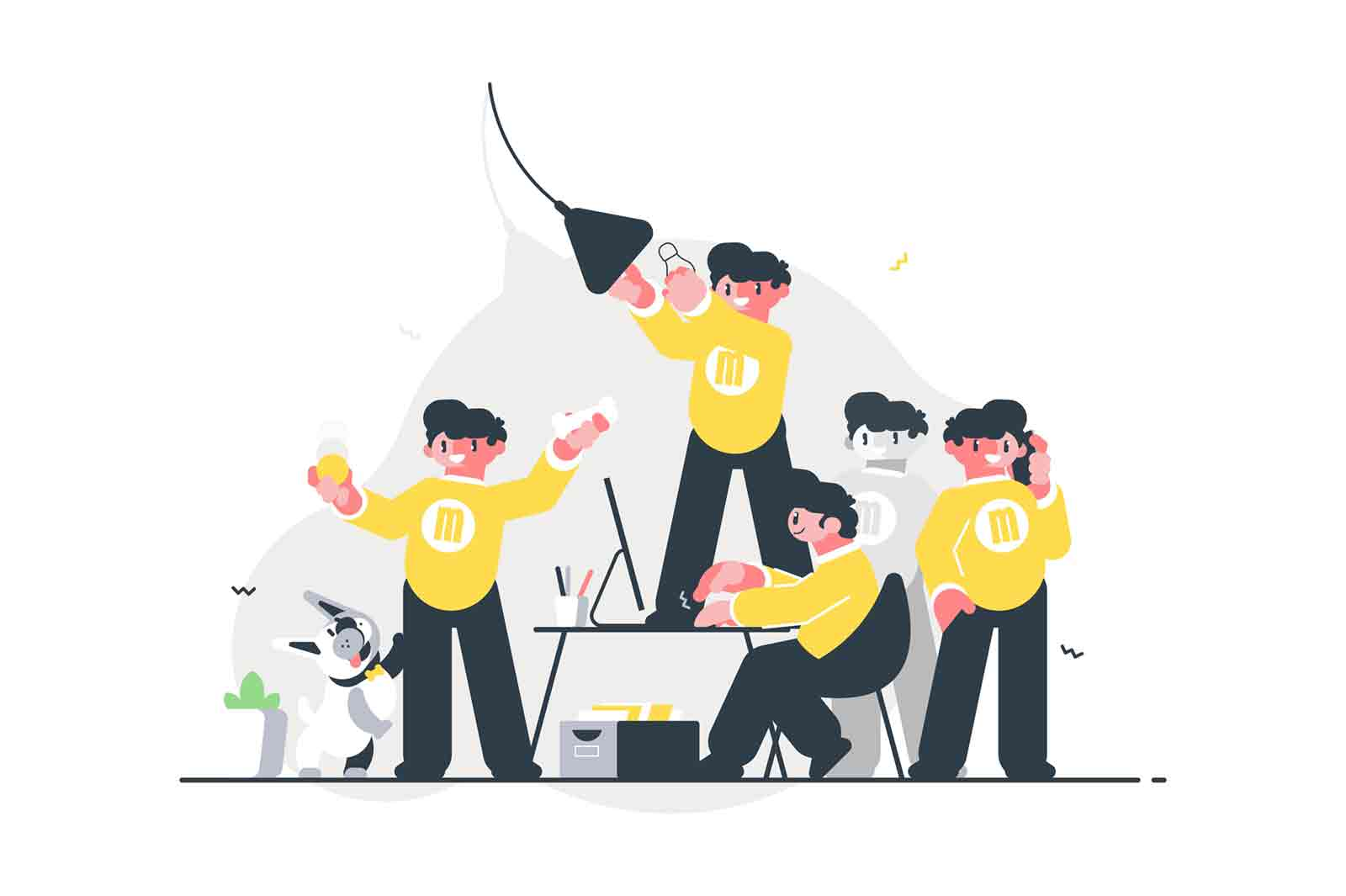 Male doing many things simultaneously vector illustration. Man in yellow hoodie working on computer playing with dog talking on phone and change light bulb cartoon design. To be in time concept