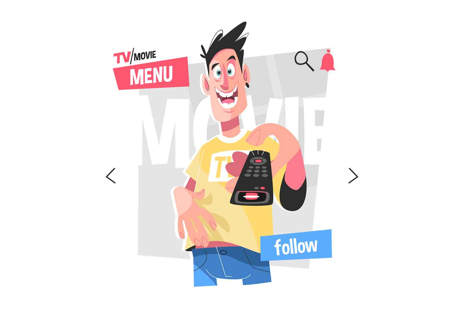 Modern tv service vector illustration. Guy holding tv remote and choosing media content flat style design. Streaming service and online cinema concept isolated on white