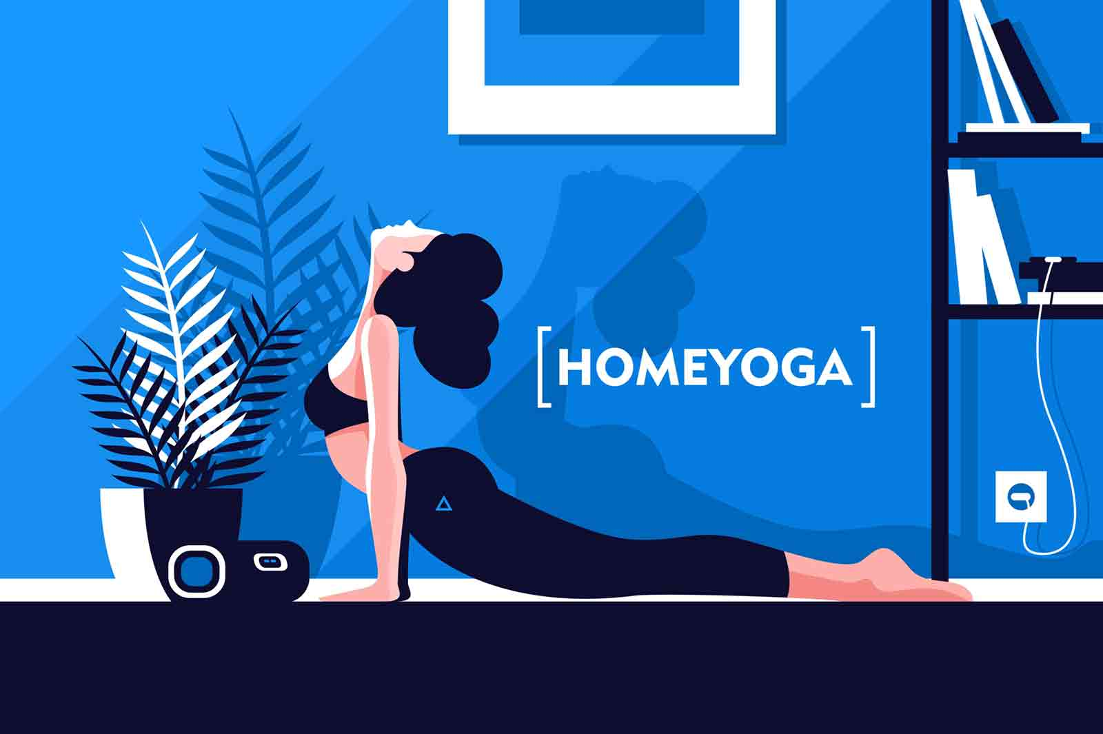 Young beautiful flexible girl doing yoga at home vector illustration. Woman laying in pose and breathing. Healthy lifestyle and home yoga concept in modern interior