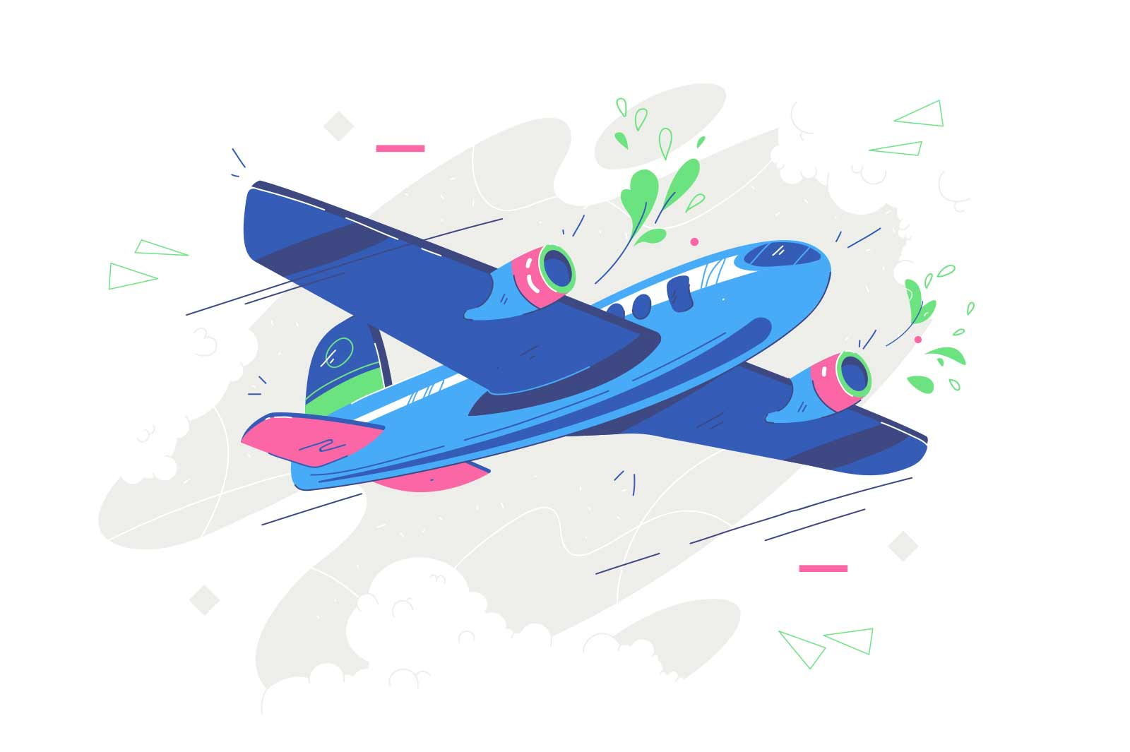 Modern jet airliner in sky vector illustration. Large commercial passenger aircraft flat style. International flights and air tourism concept. Isolated on white background