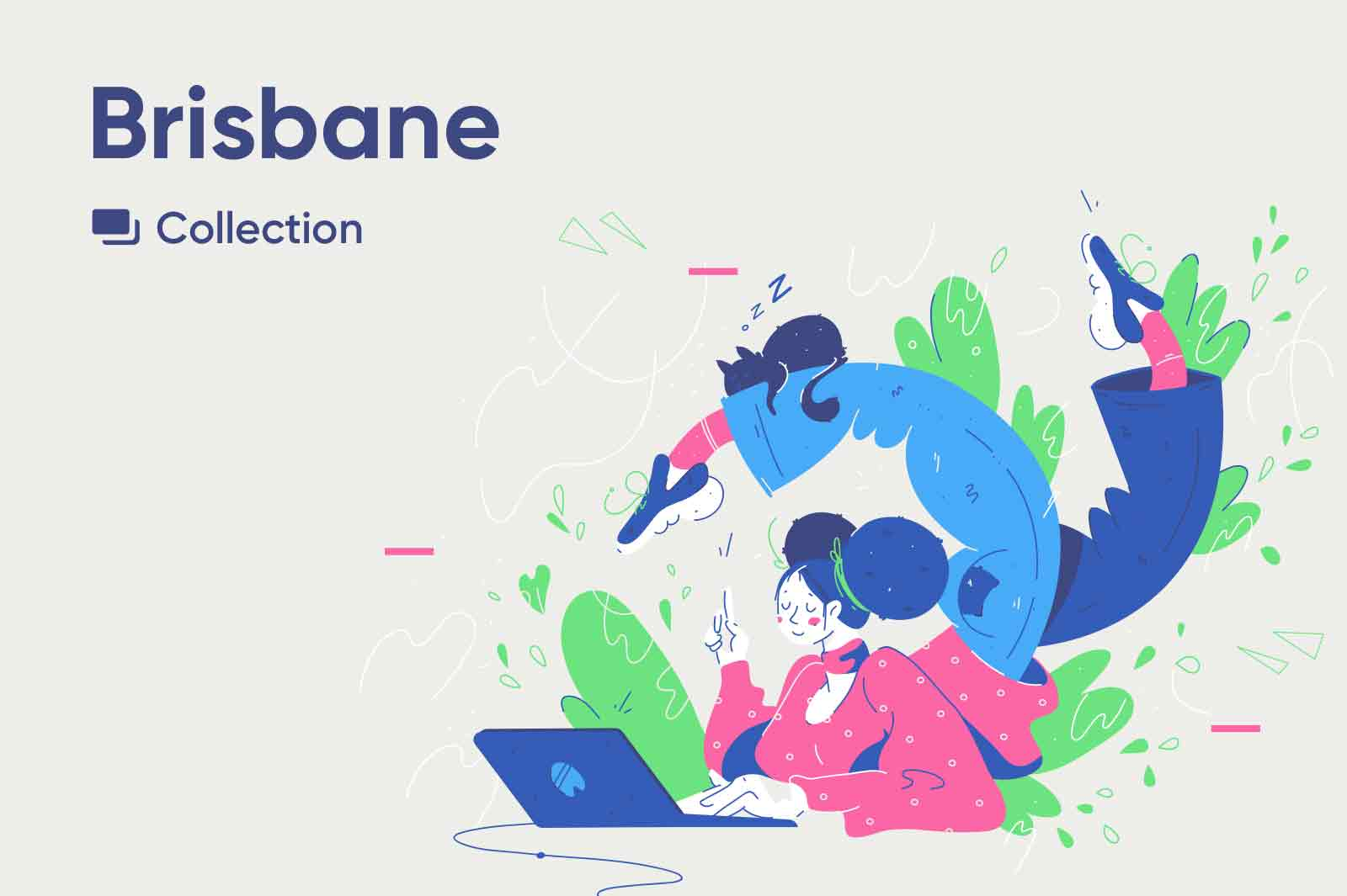 Playful illustrations with a light limited color palette. Vector source files illustrations. Character illustrations.