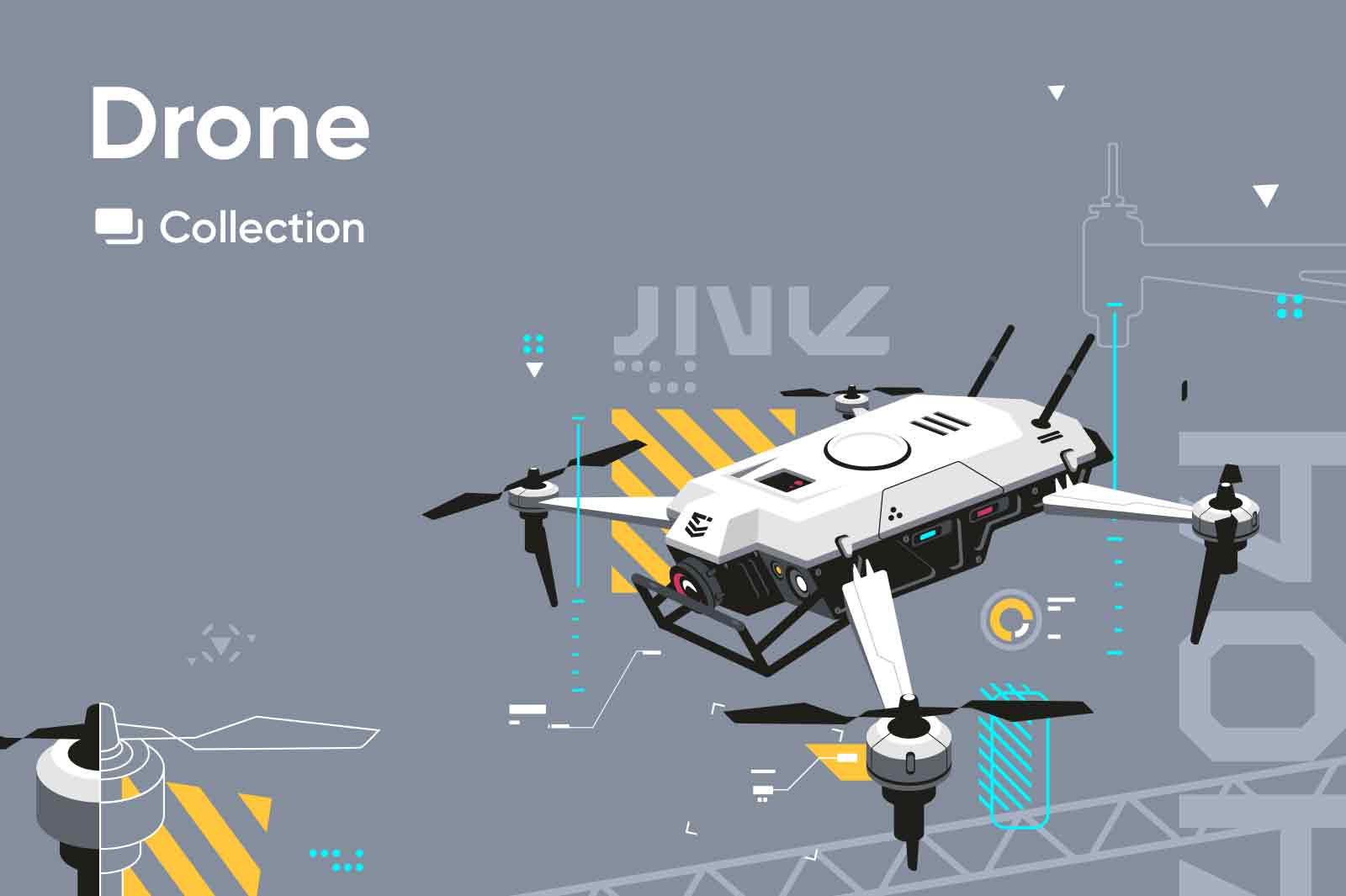 Vector illustrations related to flying drones. Remote control, FPV, drone control. Vector source files. High tech flying technologies.