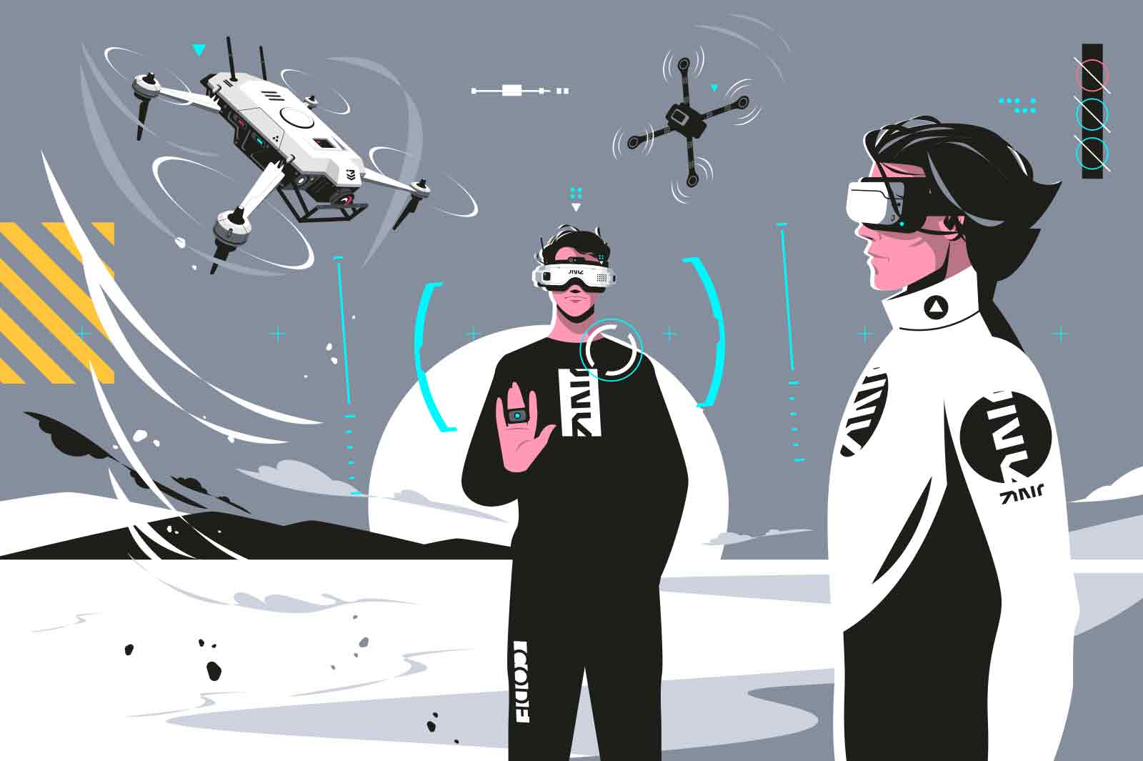 Drone pilots wearing modern glasses vector illustration. Wireless flying quadcopters flat style. Future technologies, innovation device, development concept on grey background