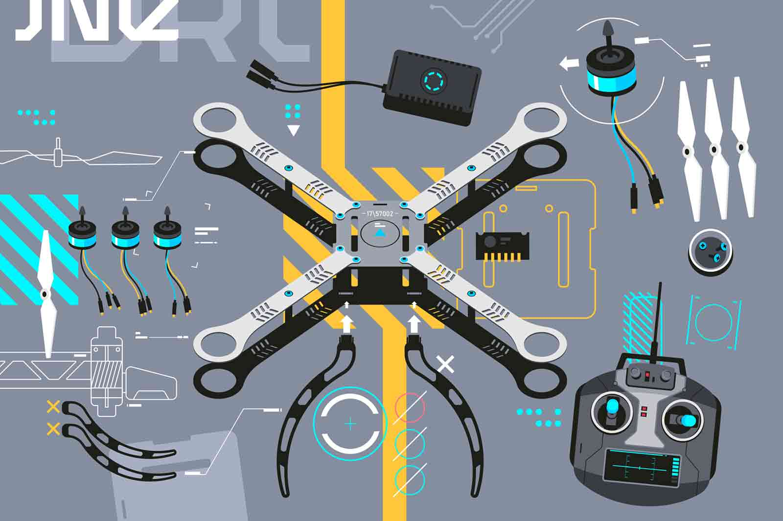 Modern quadcopter with portable camera vector illustration. Aerial photography, air survey services flat style. Innovation technology, remote controllable device concept. Isolated on grey background