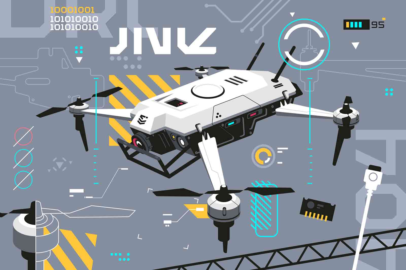 Quadcopter with portable camera vector illustration. Digital entertainment flight drone, follow me drone flat style. Futuristic technologies and modern progress concept.