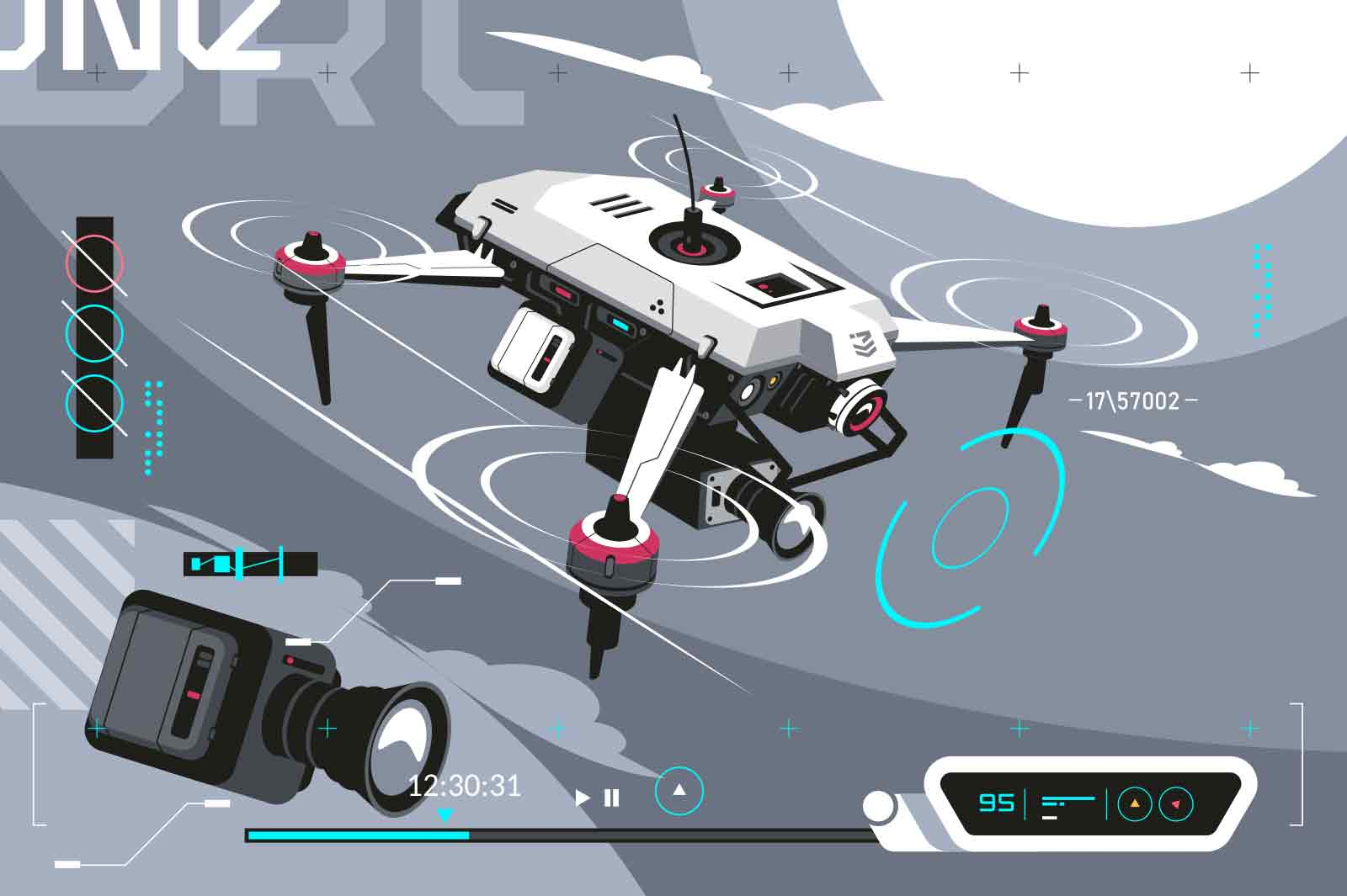 Smart drone shooting with camera vector illustration. Quadcopter flying and recording video flat style. Aerial photography, videography, smart tech, innovation concept. Grey background